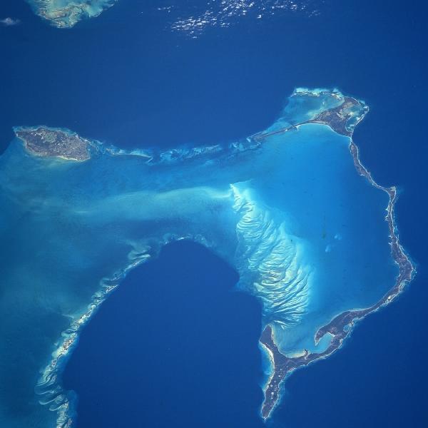 Satellite Image, Photo of New Providence and Eleuthera Islands, Bahamas