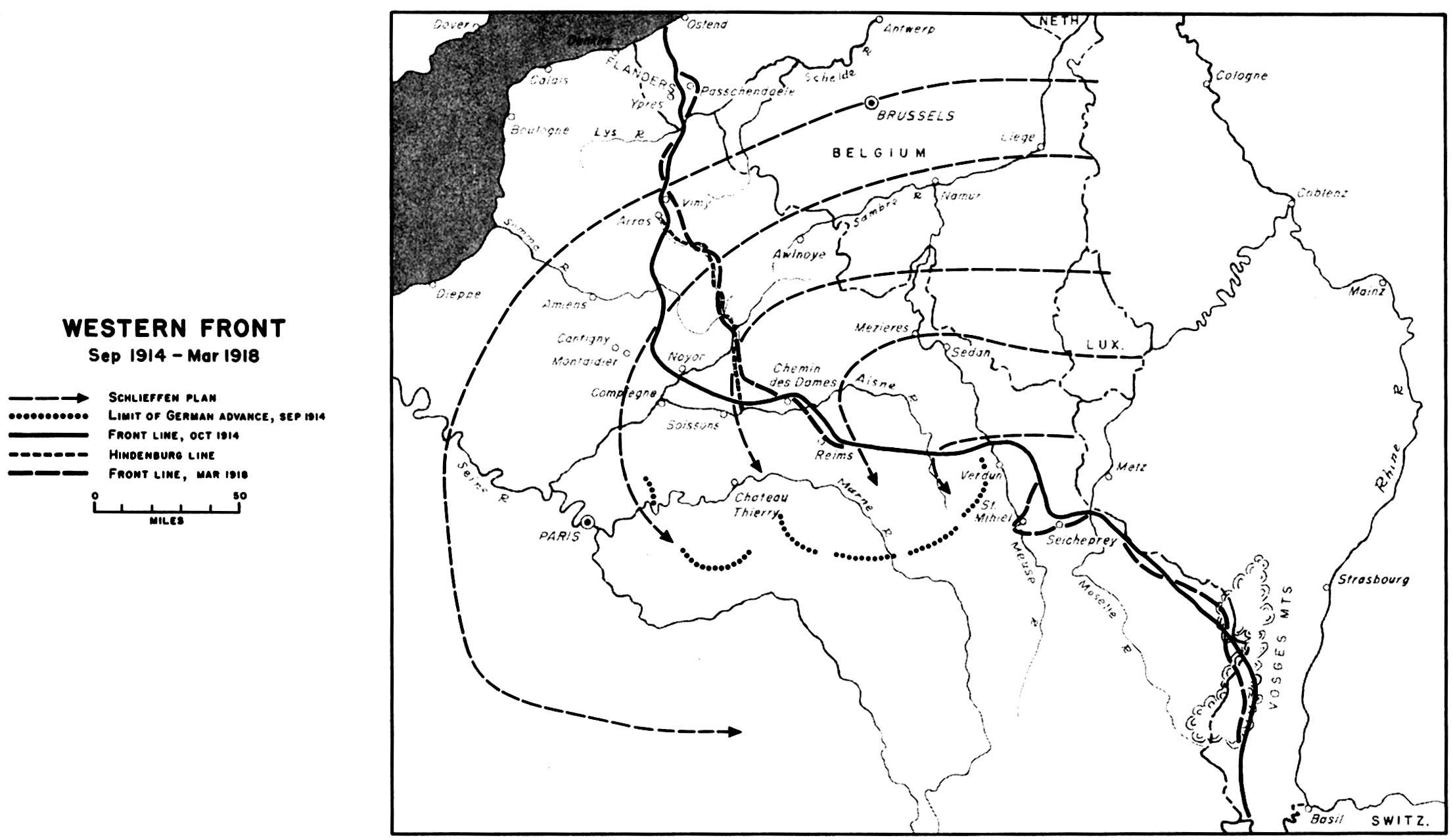 Frente Occidental, Primera Guerra Mundial, Sept. 1914 - Marzo 1918
