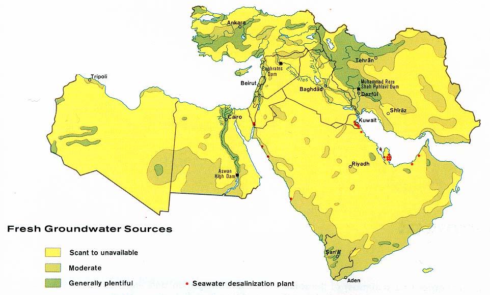 Fuentes de Aguas Subterráneas en el Oriente Medio 1973