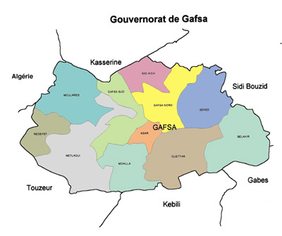 Gafsa Governorate Map, Tunisia