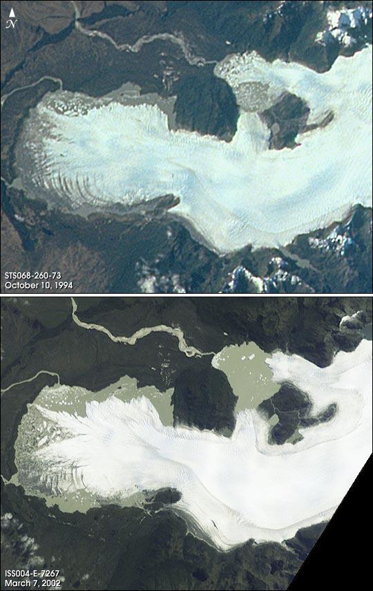 Glaciar en retirada en la Patagonia chilena