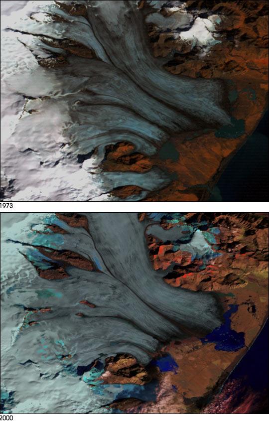 Glaciar retrocediendo en Islandia