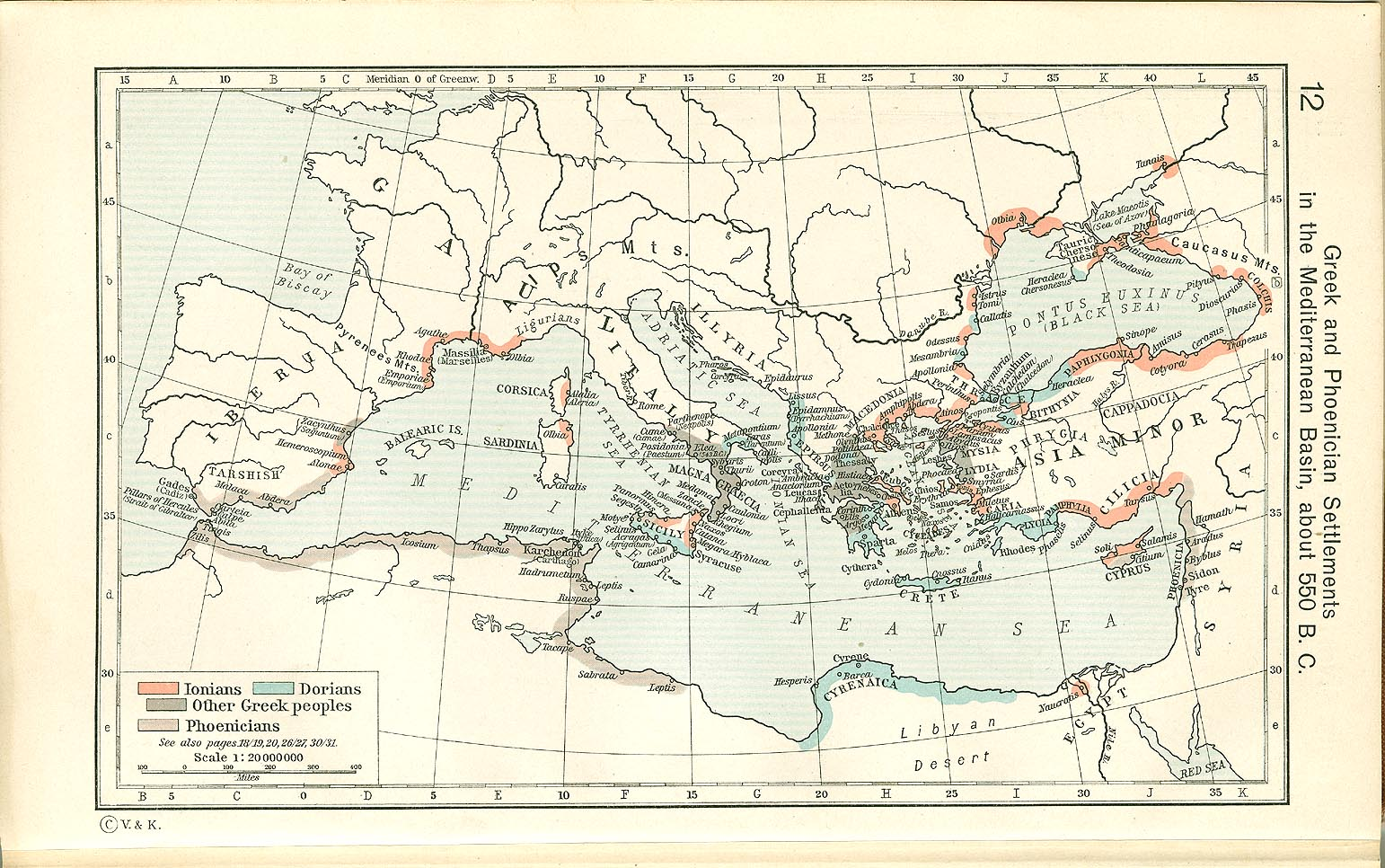 Greek and Phoenician in the Mediterranean Basin about 550 B.C.