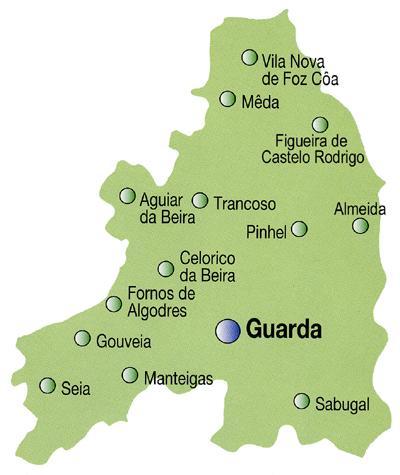 Guarda District Map, Portugal