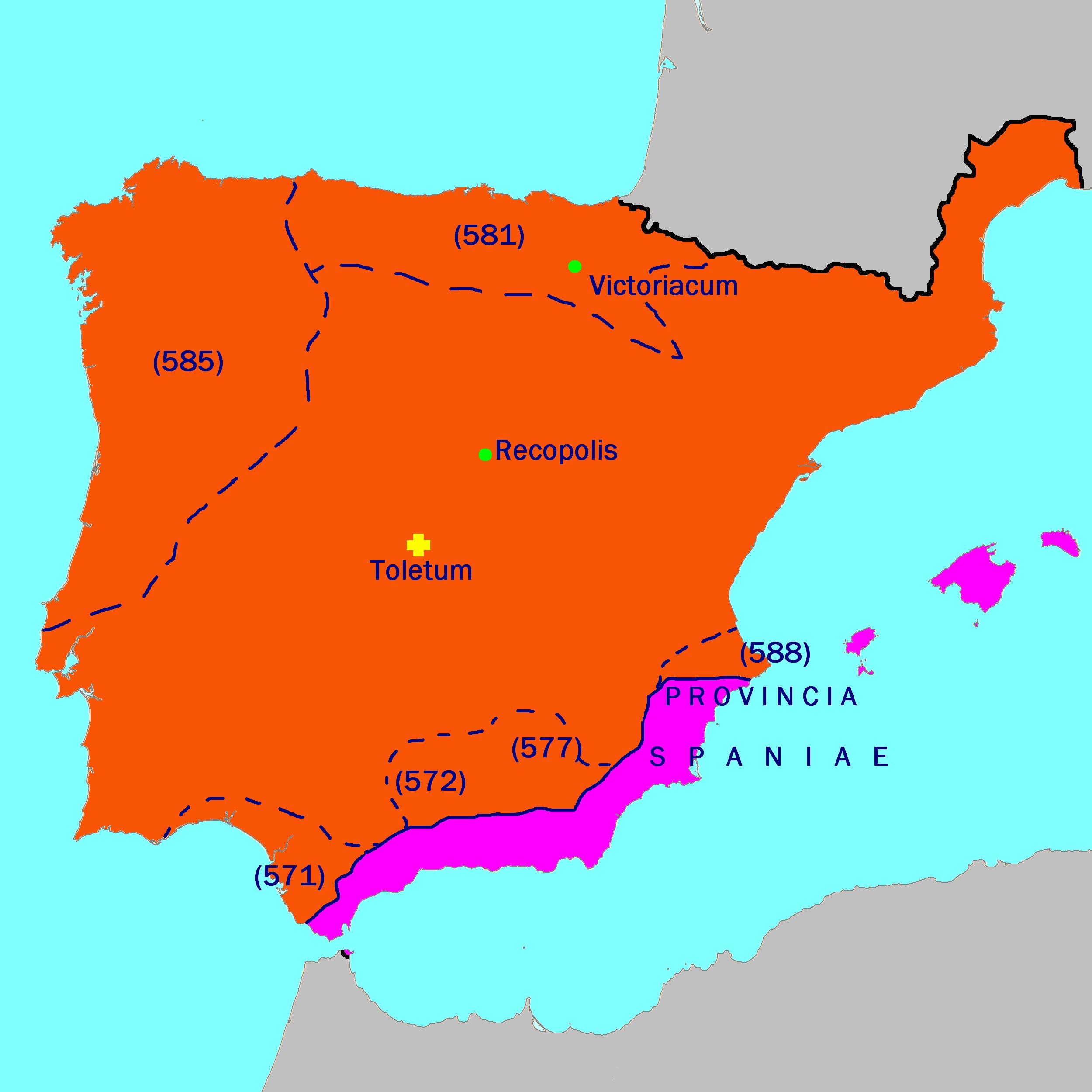 Hispania visigoda durante Leovigildo, año 586
