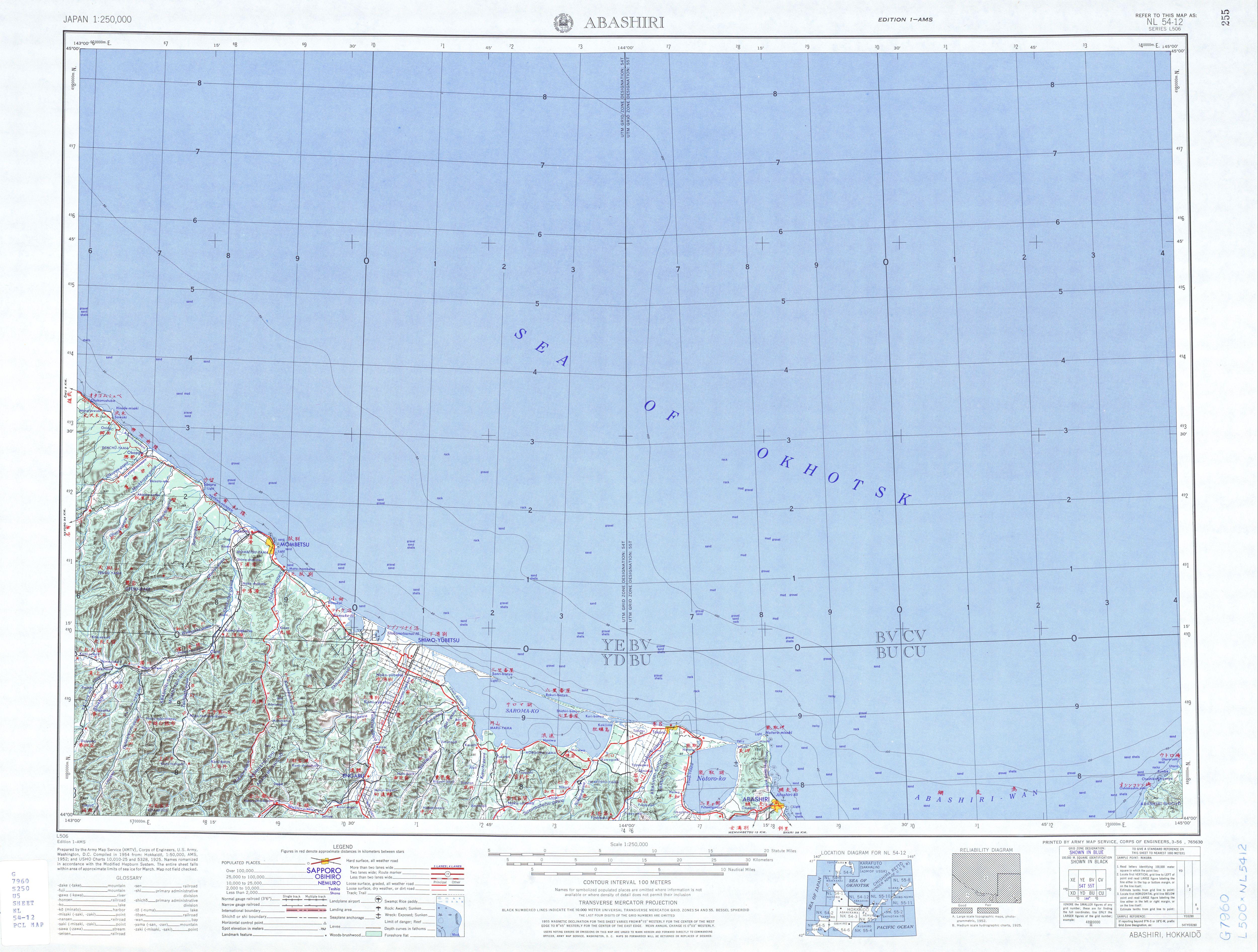 Abashiri Topographic Map Sheet, Japan 1954
