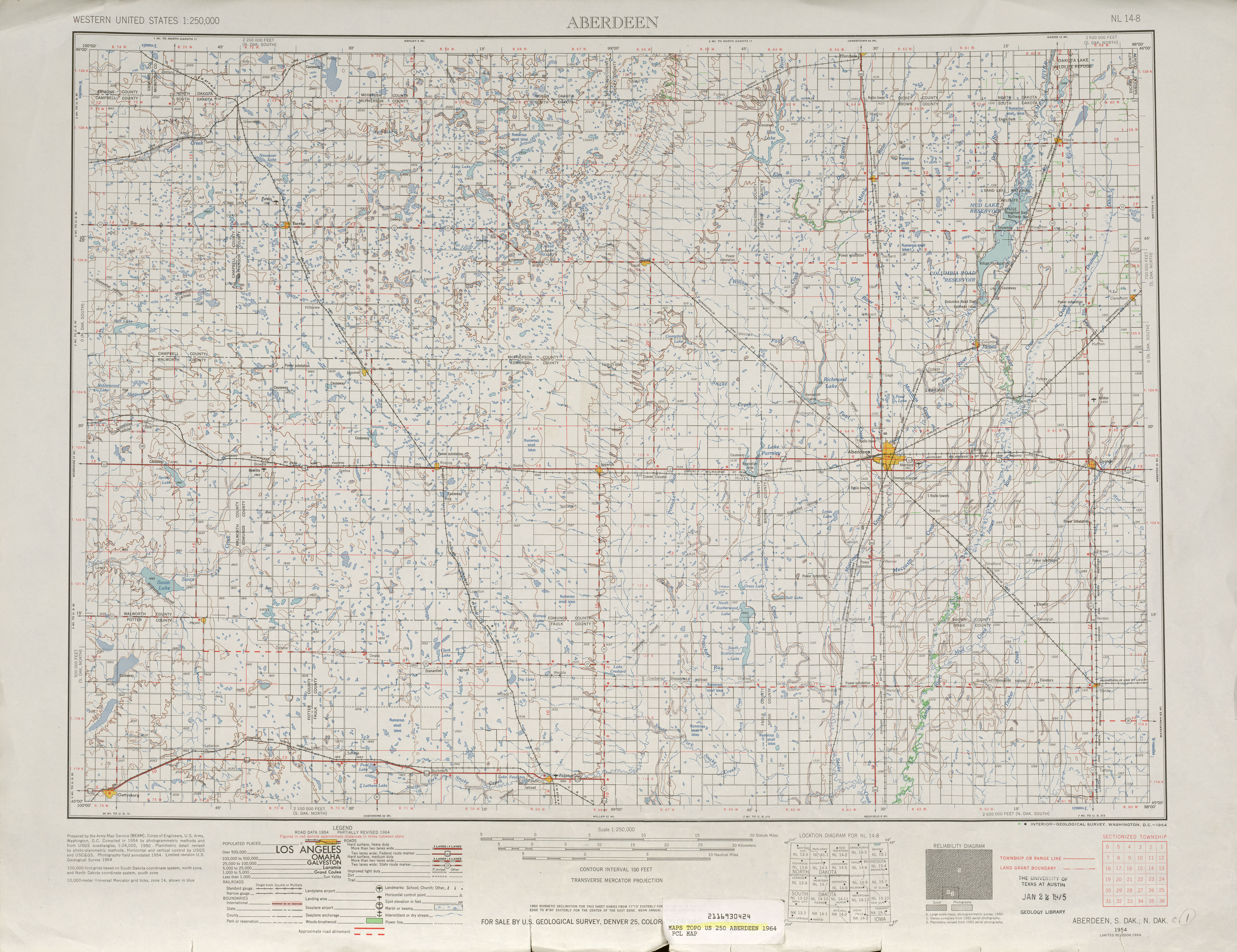 Aberdeen Topographic Map Sheet, United States 1964