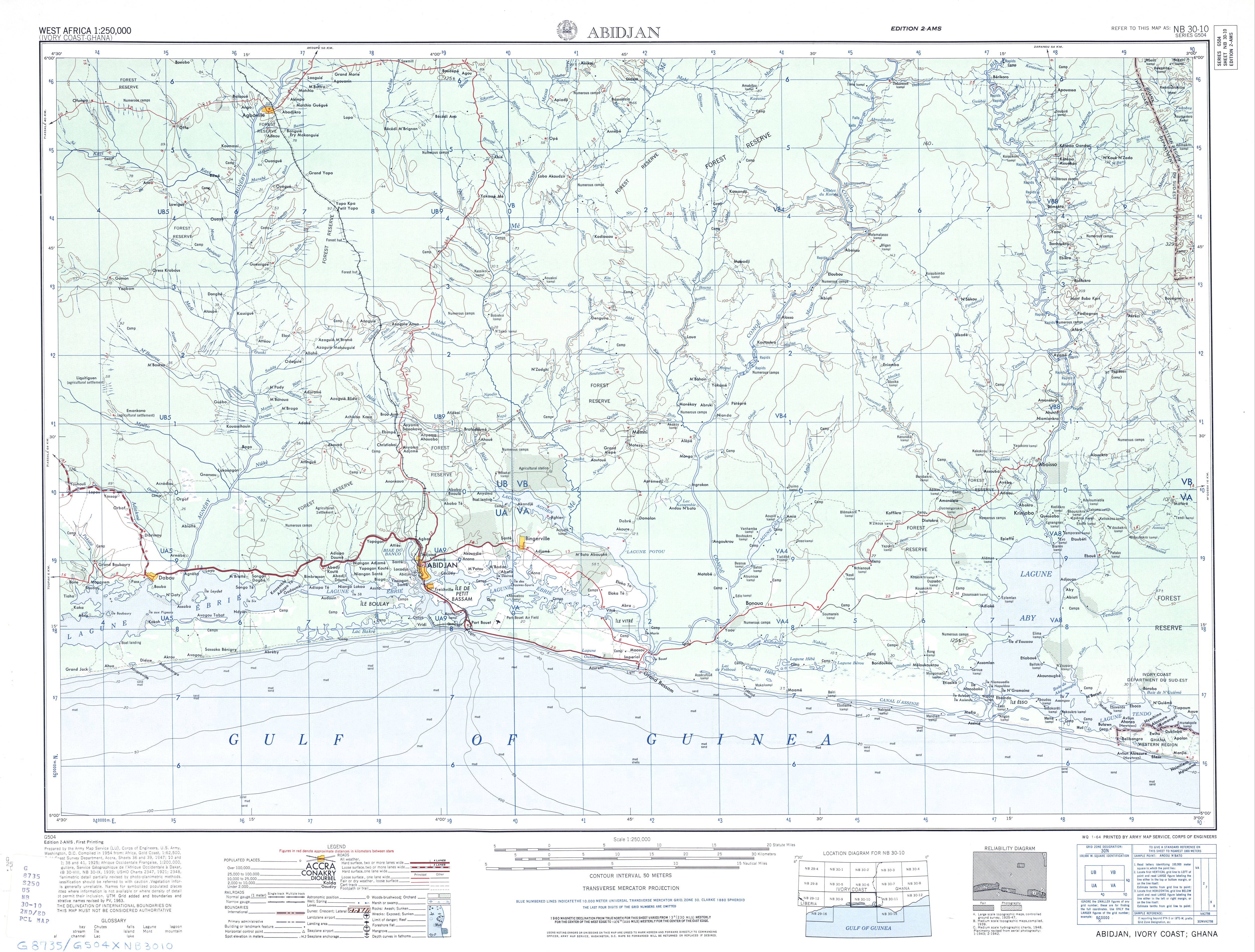 Hoja Abiyán del Mapa Topográfico de África Occidental 1955