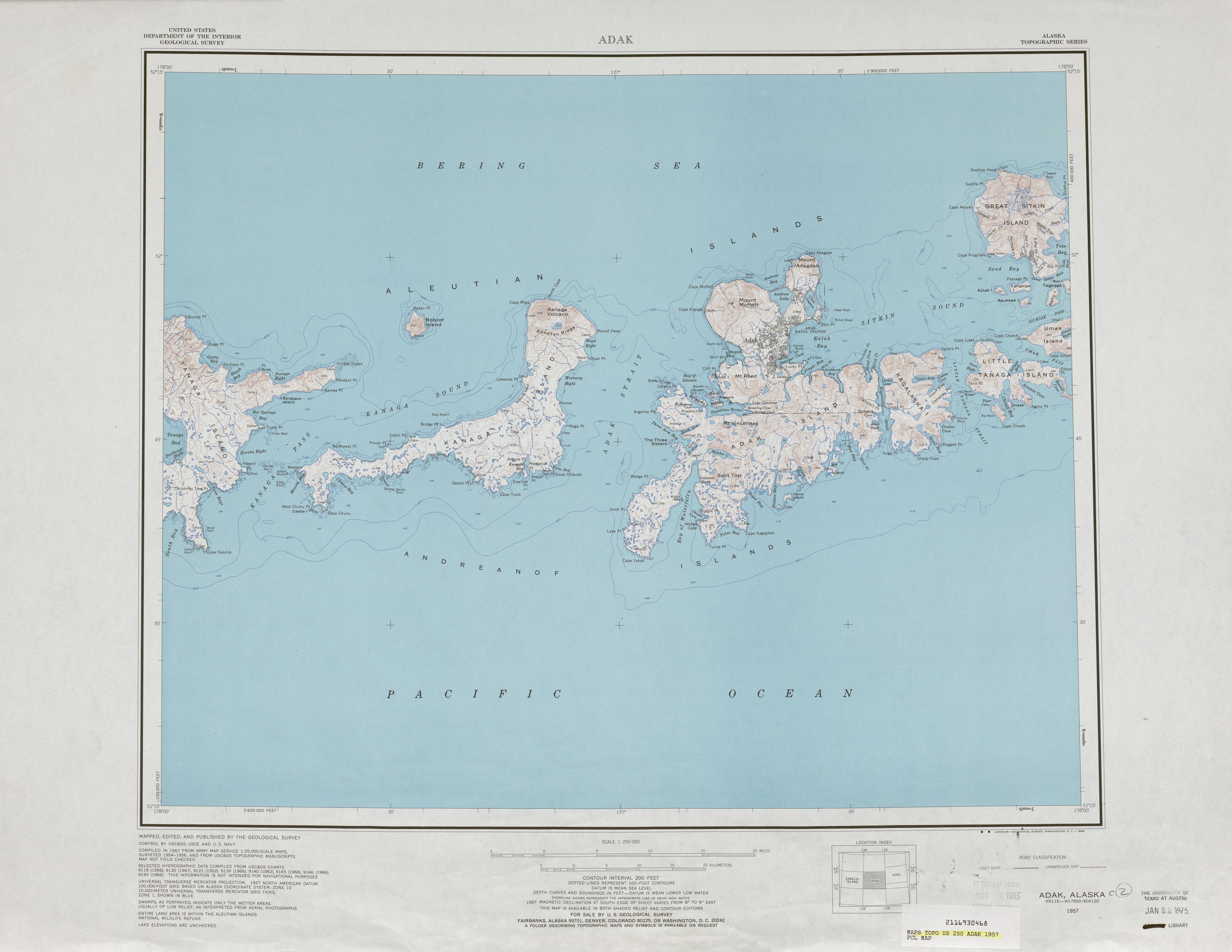 Adak Topographic Map Sheet, United States 1957