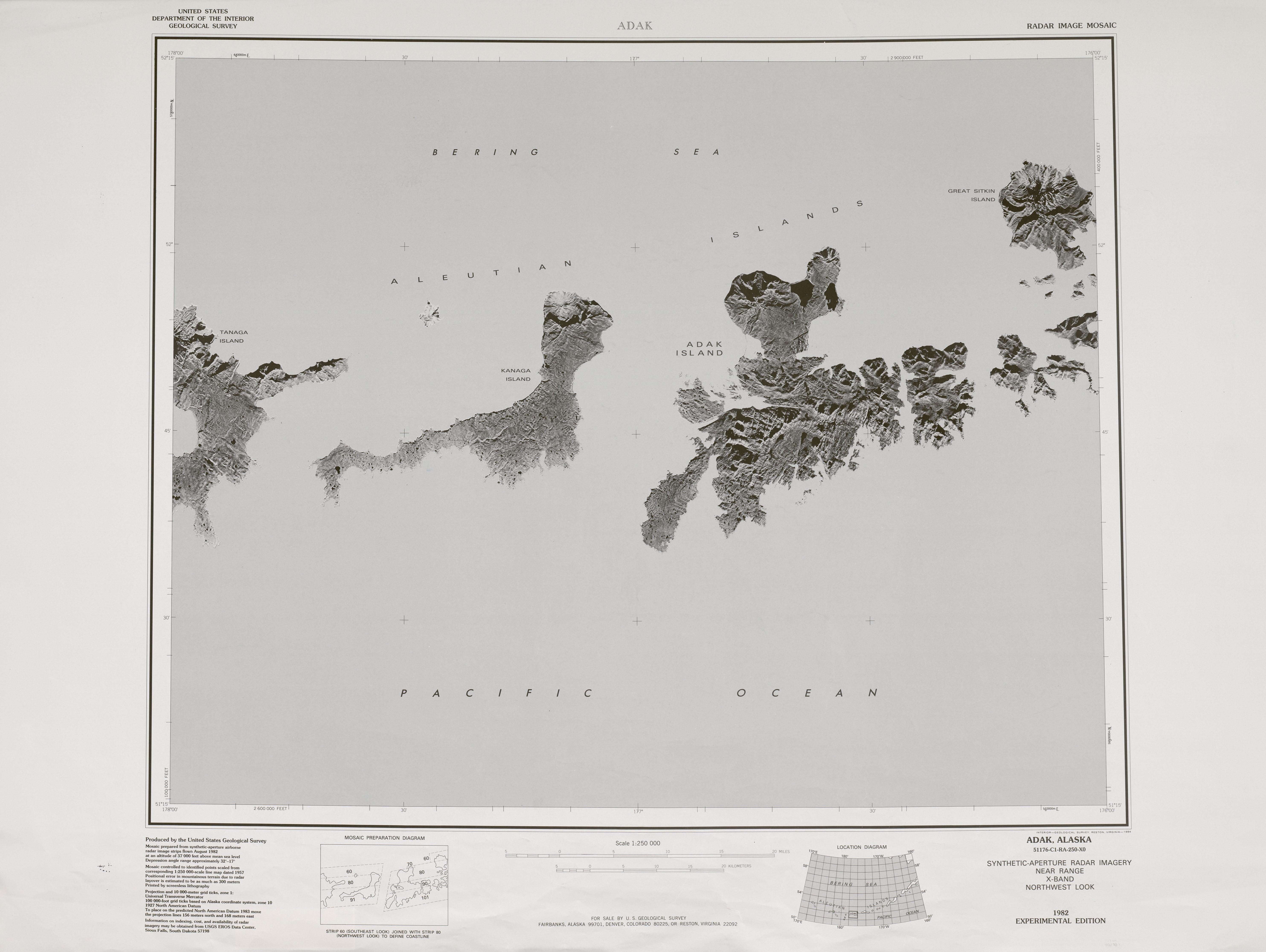 Hoja Adak del Mosaico de Imágenes Radar de los Estados Unidos 1983