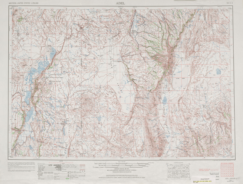 Hoja Adel del Mapa Topográfico de los Estados Unidos 1970