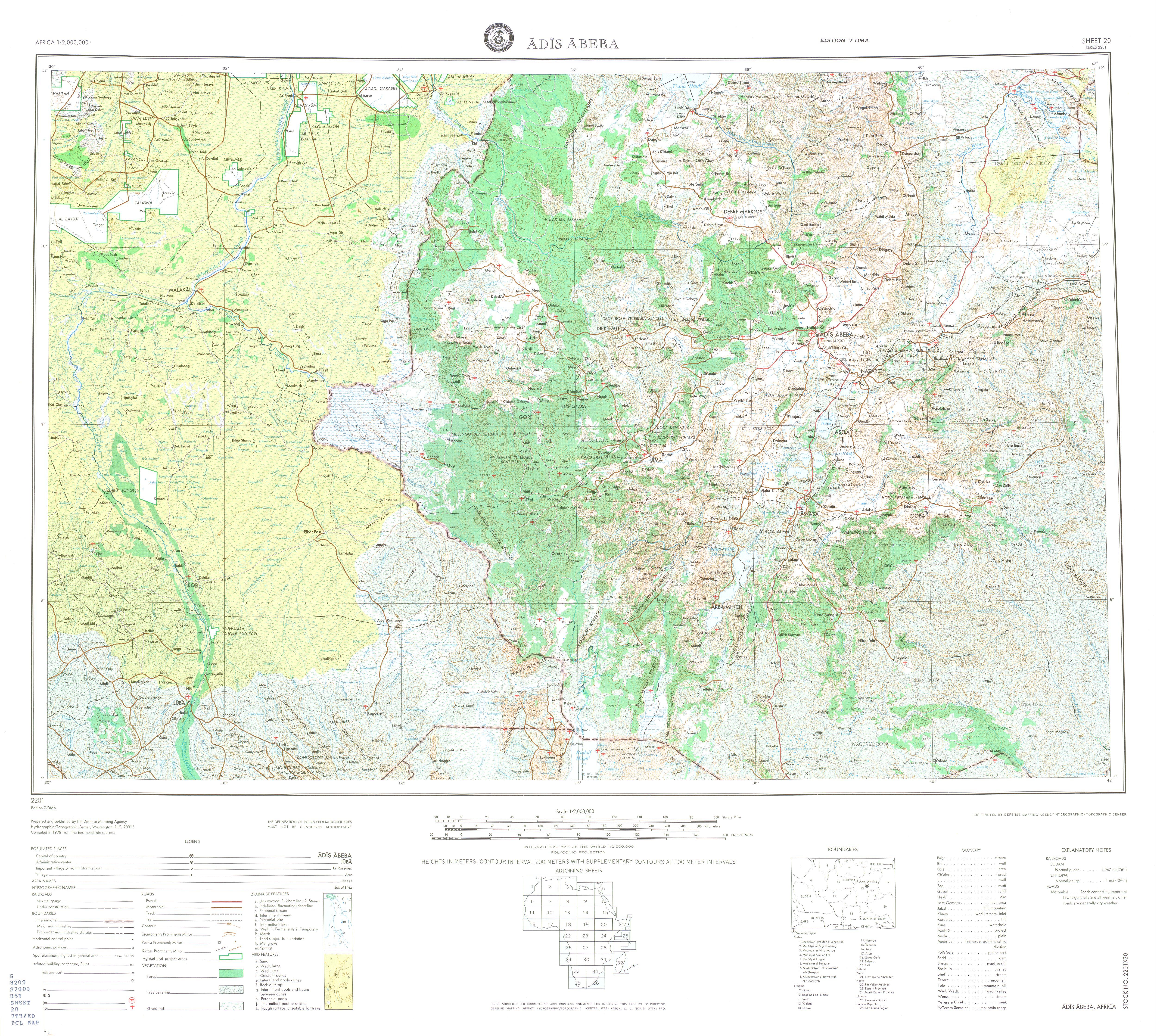 Hoja Adis Abeba (Adís Abeba) del Mapa Topográfico de África 1978