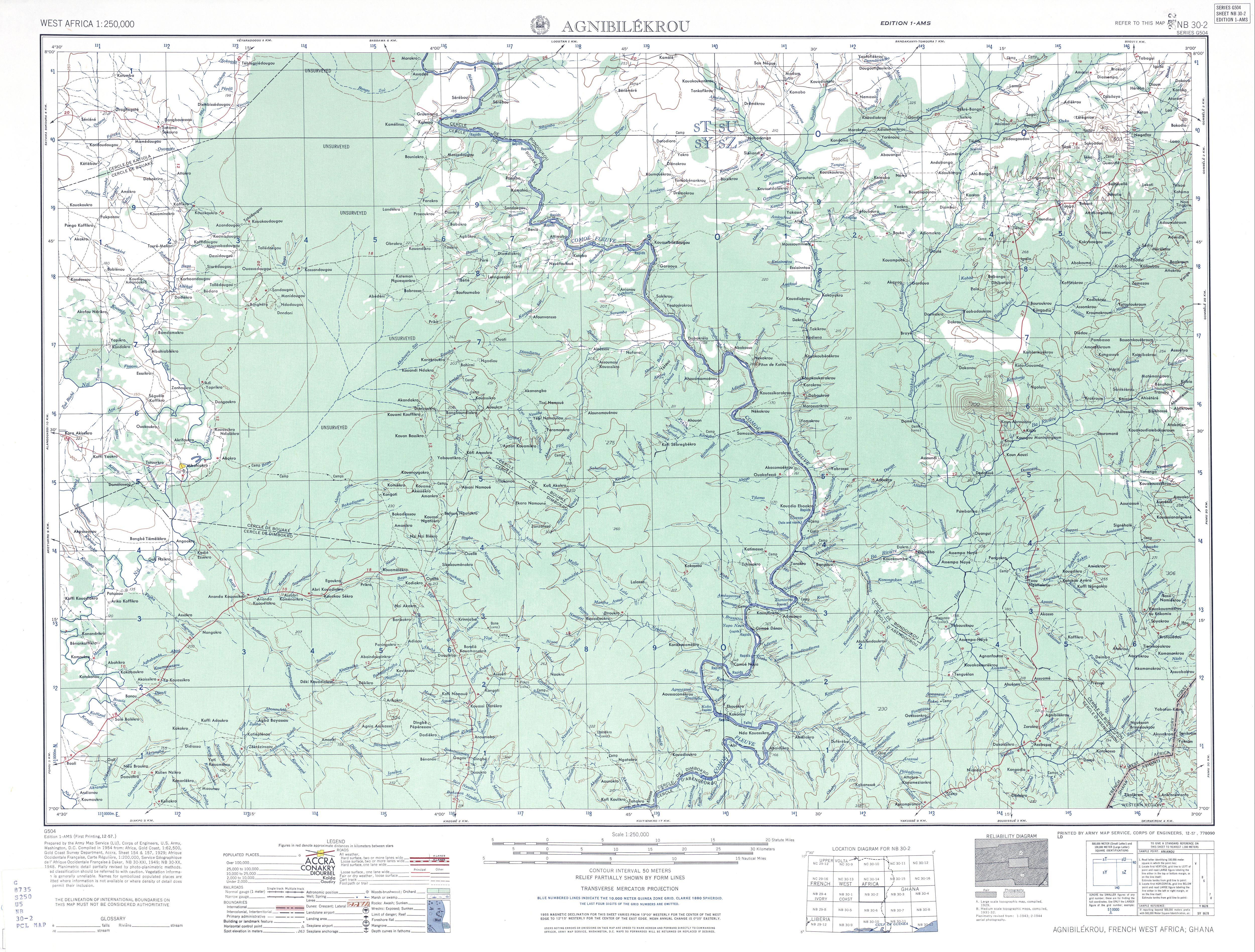 Agnibilekrou Topographic Map Sheet, Western Africa 1955