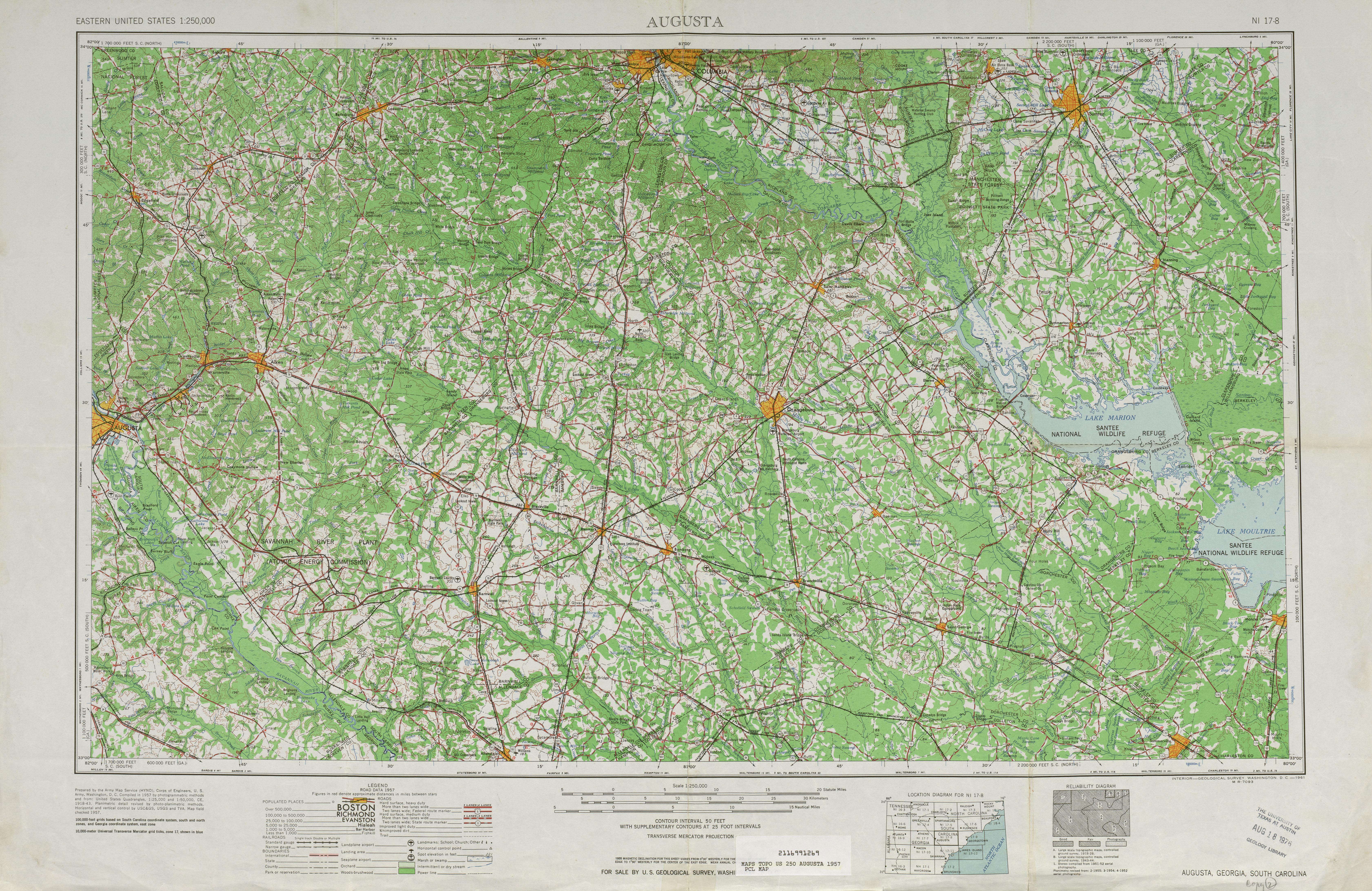 Hoja Agostoa del Mapa Topográfico de los Estados Unidos 1957