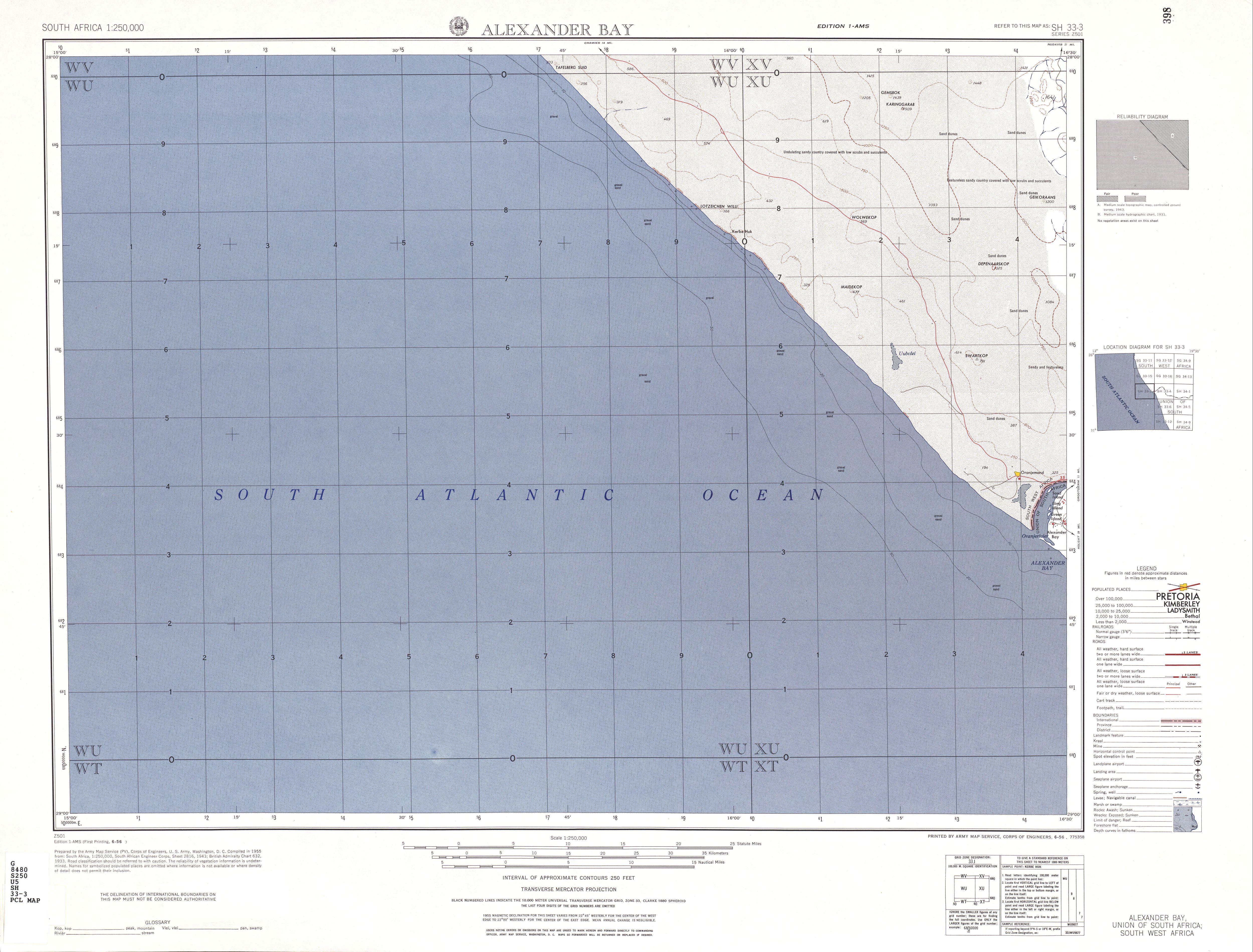 Hoja Alexander Bay del Mapa Topográfico de África Meridional 1954
