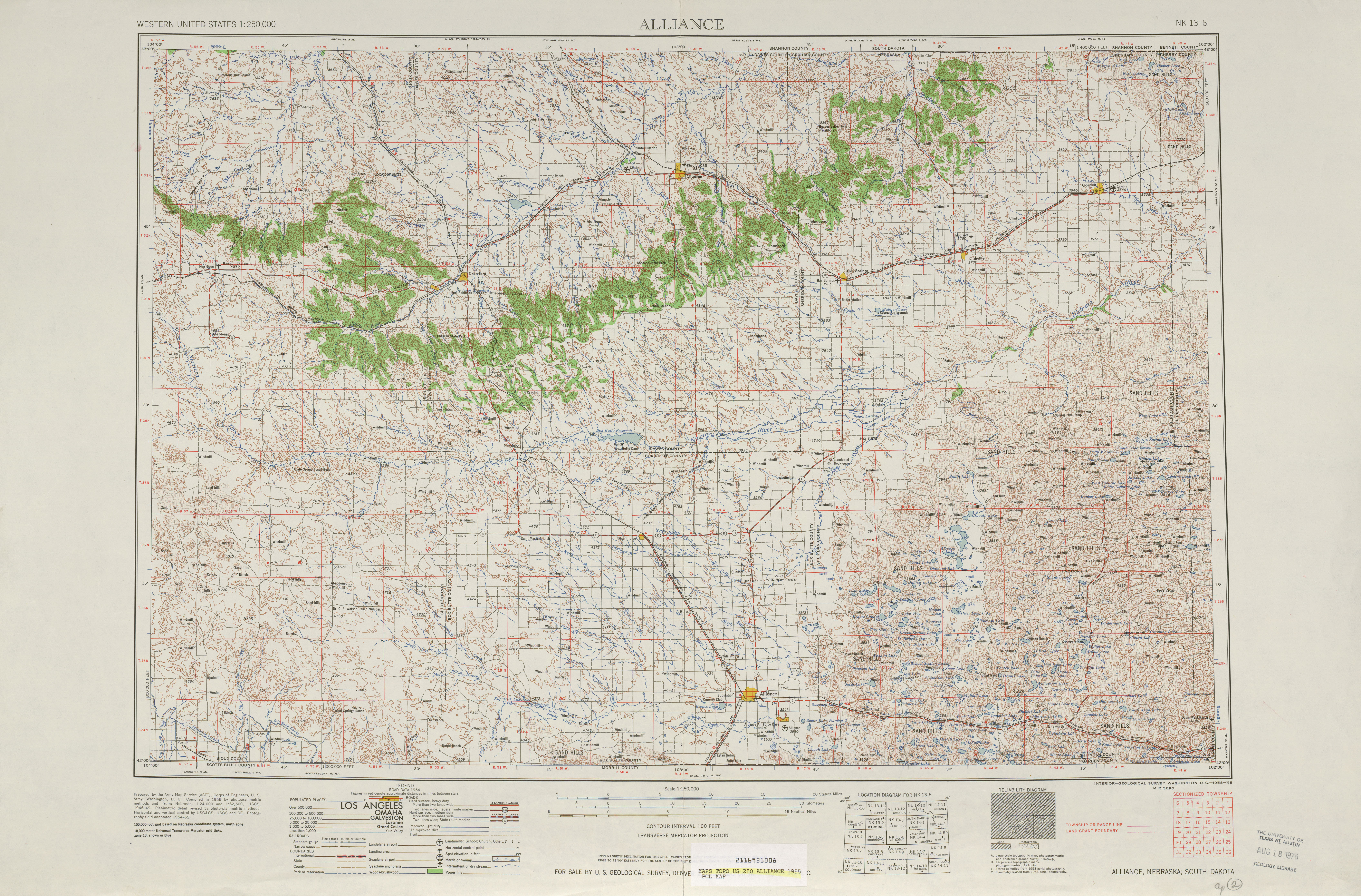 Alliance Topographic Map Sheet, United States 1955