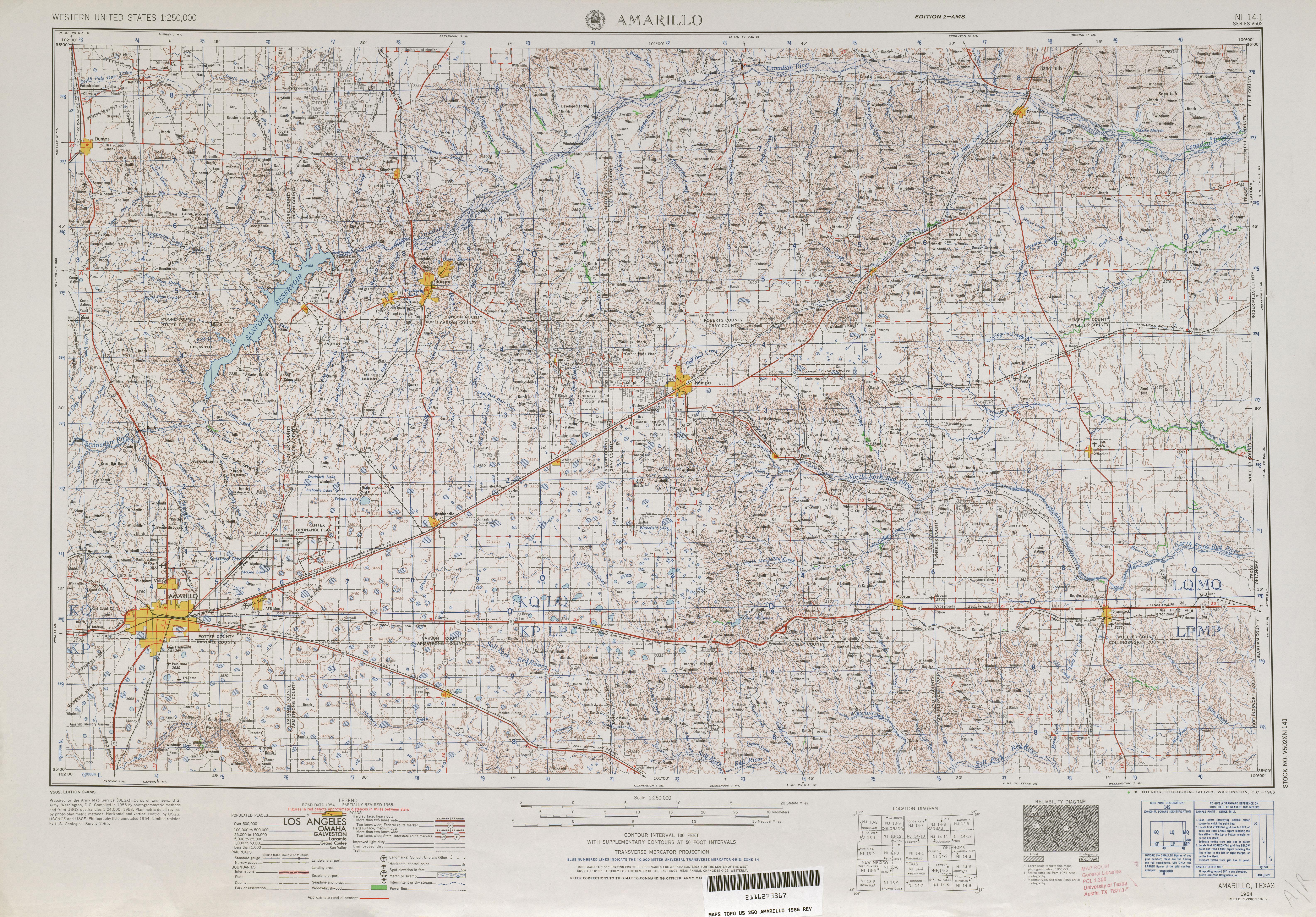 Hoja Amarillo del Mapa Topográfico de los Estados Unidos 1965