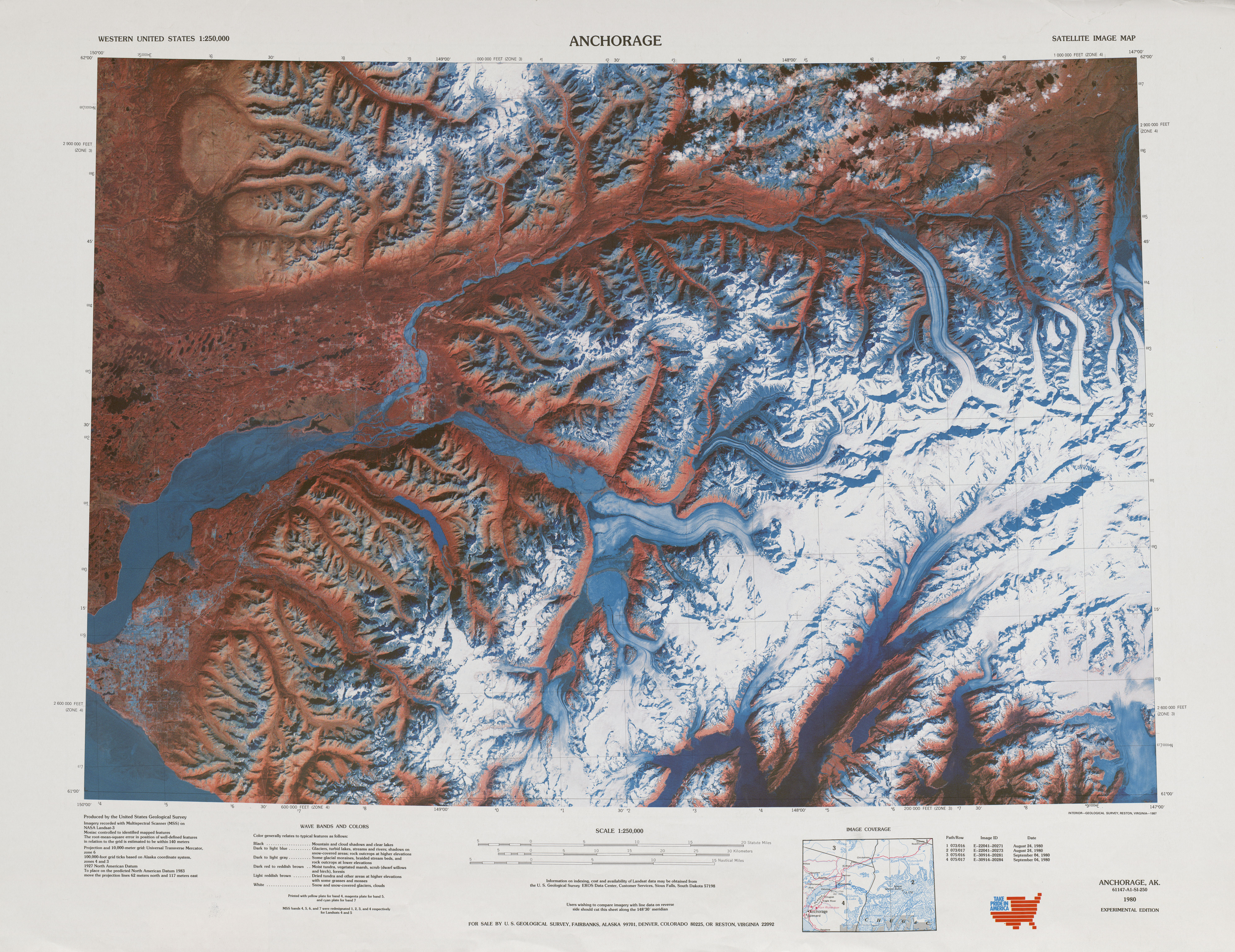 Anchorage Satellite Image Sheet, United States 1985