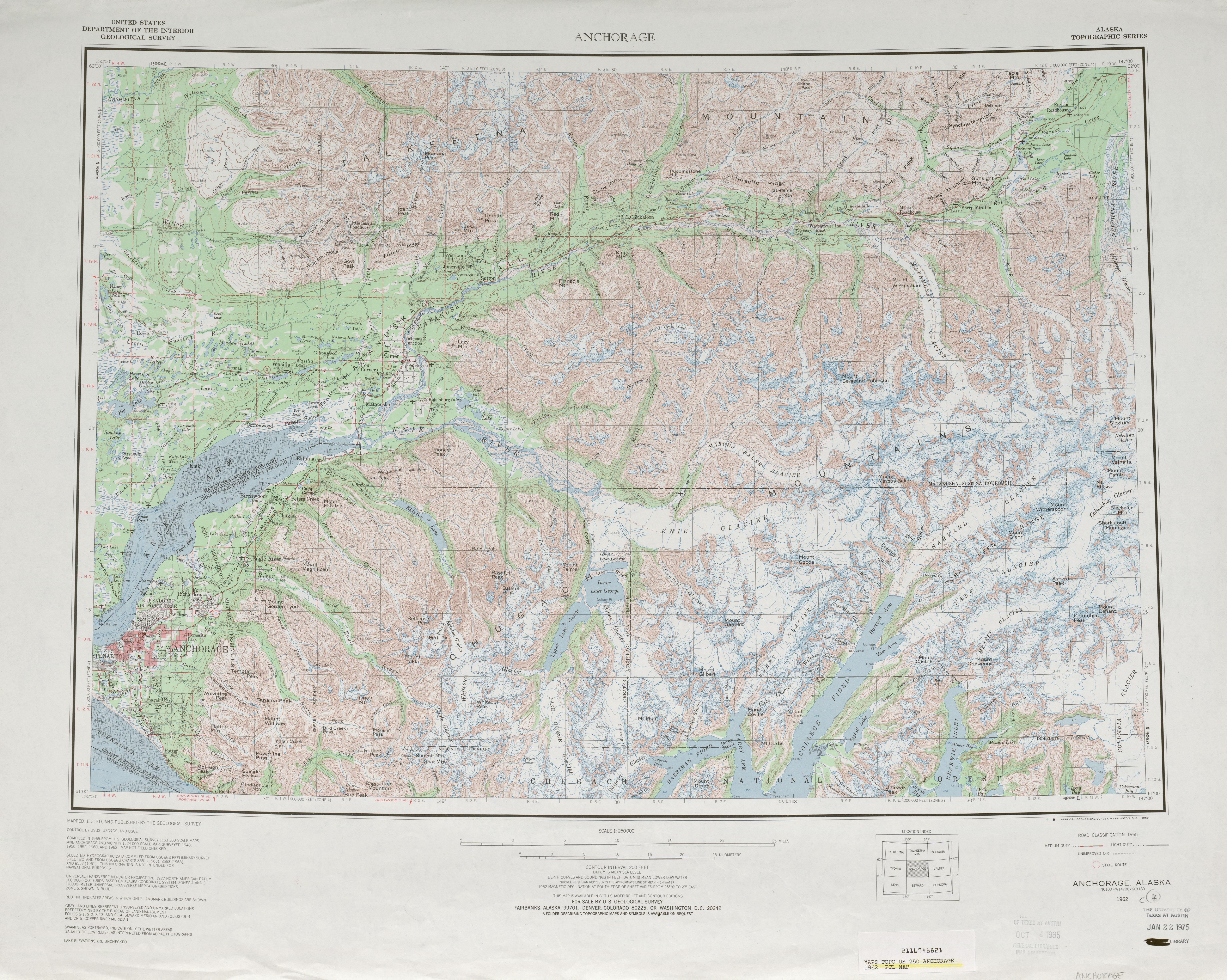 Hoja Anchorage del Mapa Topográfico de los Estados Unidos 1962