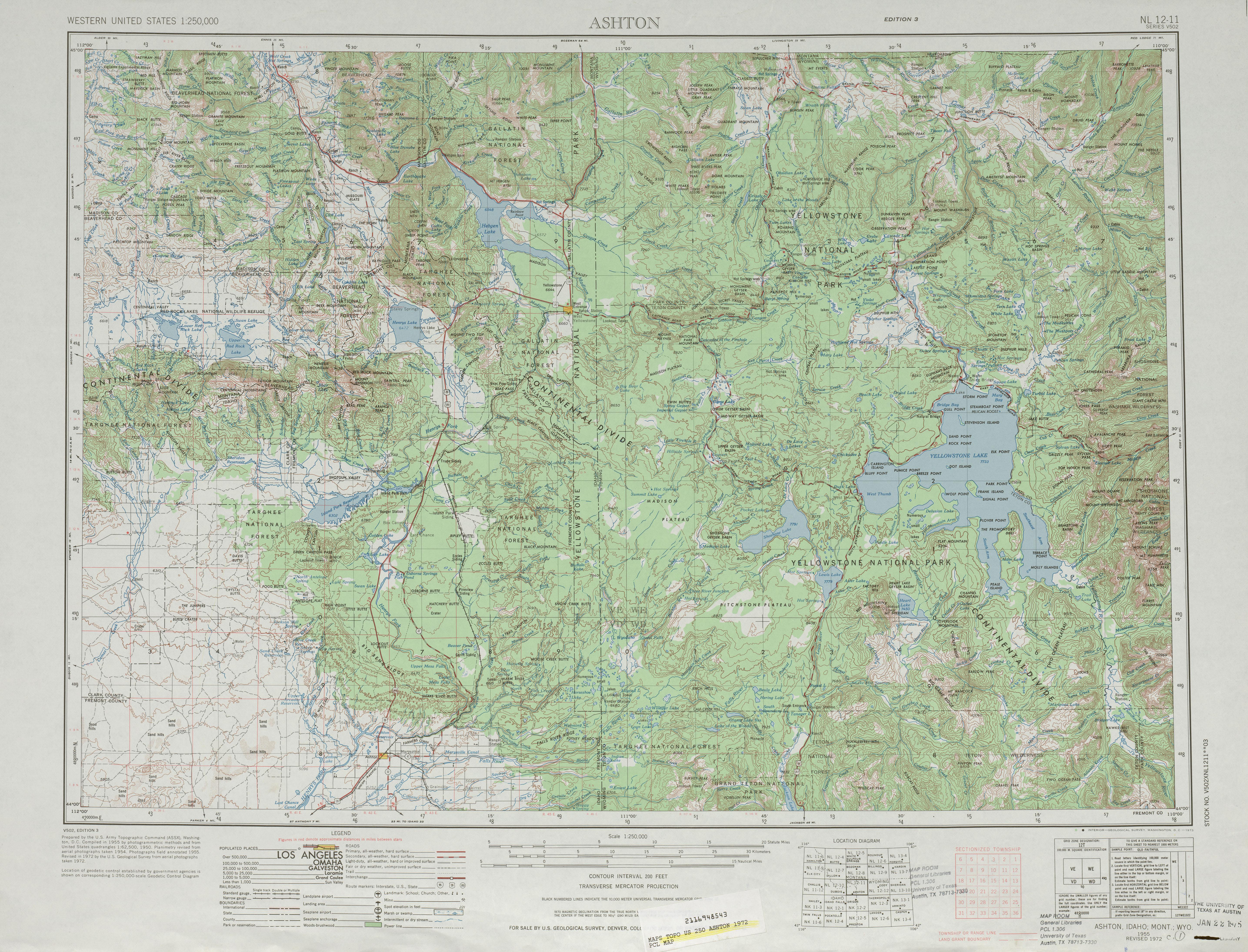Hoja Ashton del Mapa Topográfico de los Estados Unidos 1972
