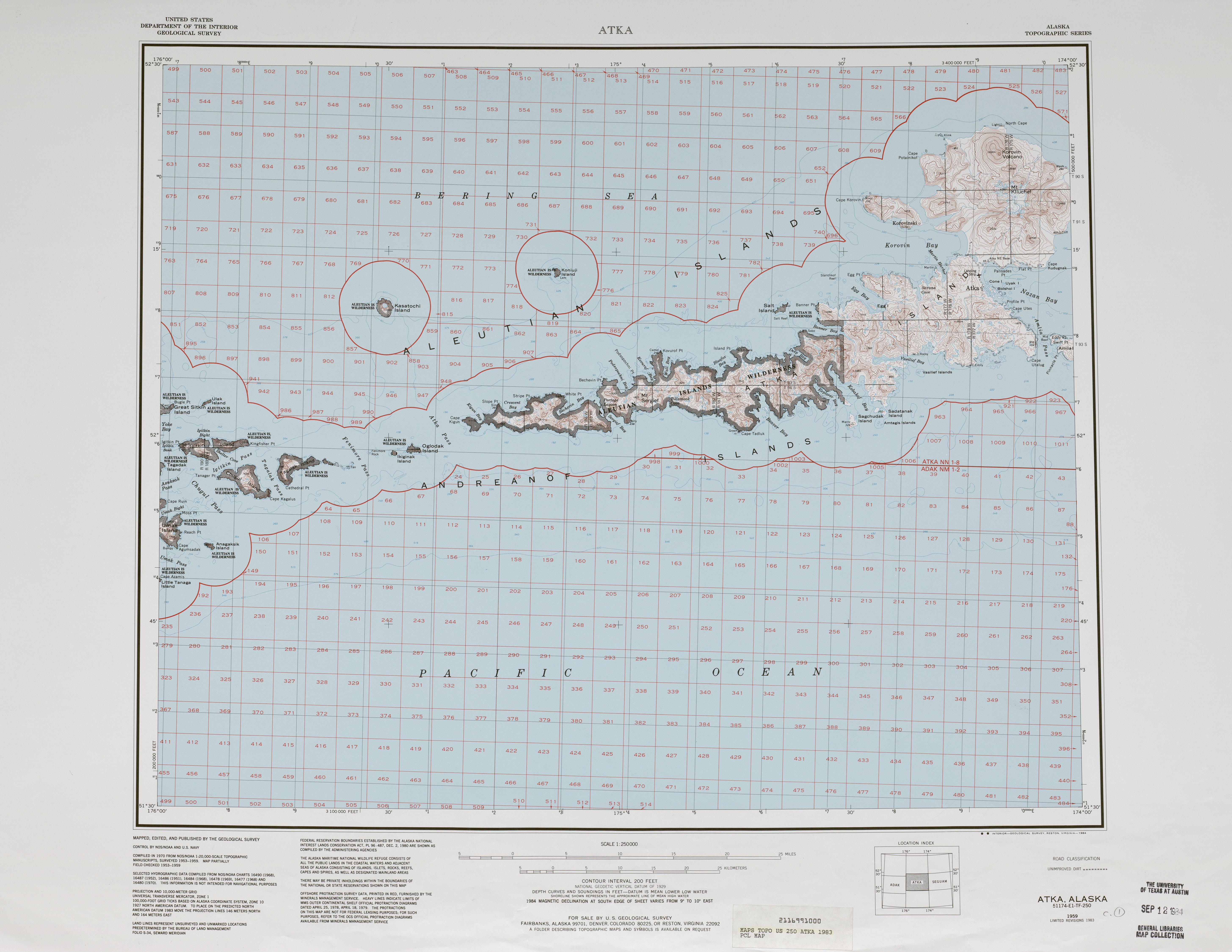 Hoja Atka del Mosaico de Imágenes Radar de los Estados Unidos 1983