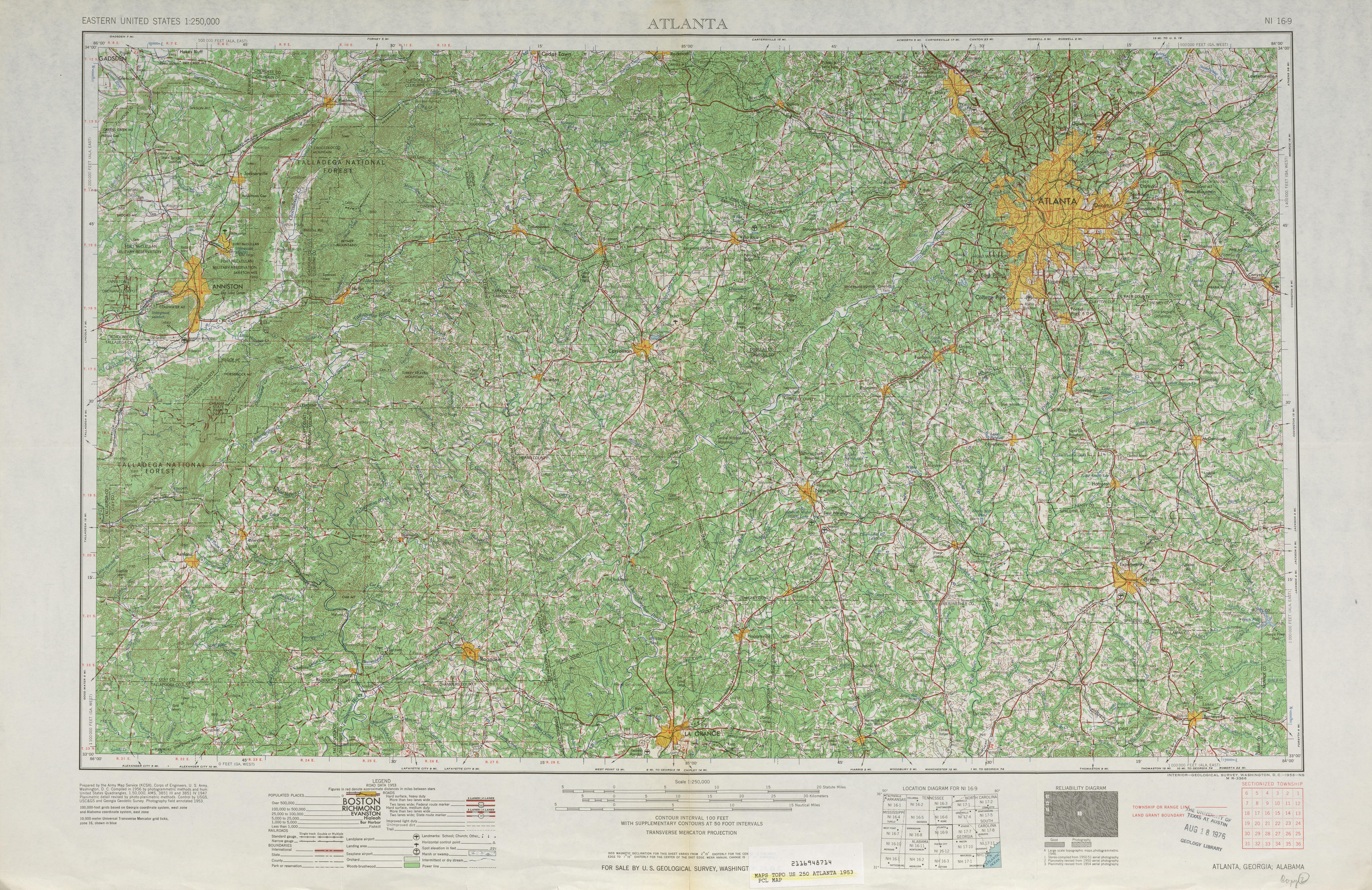 Hoja Atlanta del Mapa Topográfico de los Estados Unidos 1953