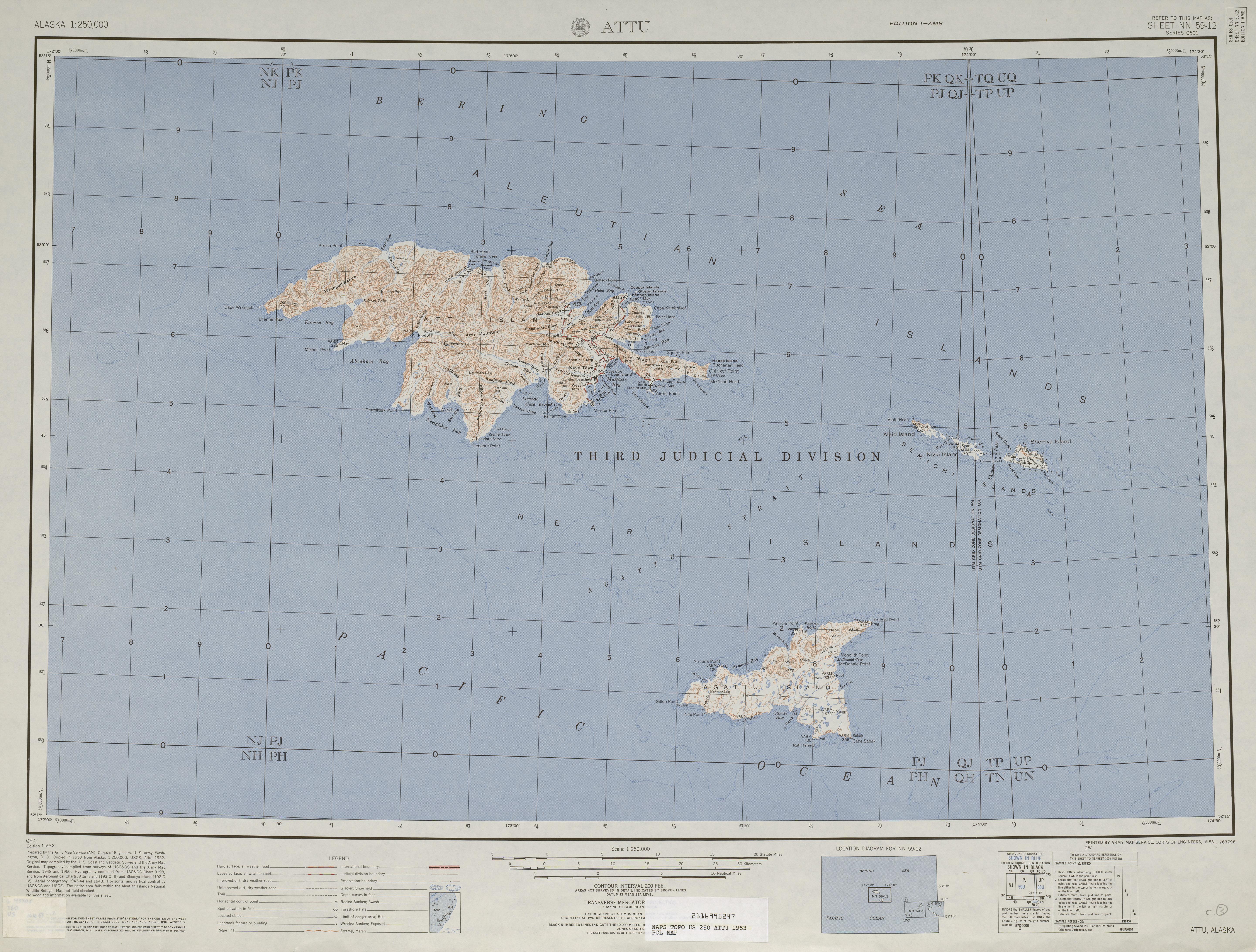Attu Topographic Map Sheet, United States 1953