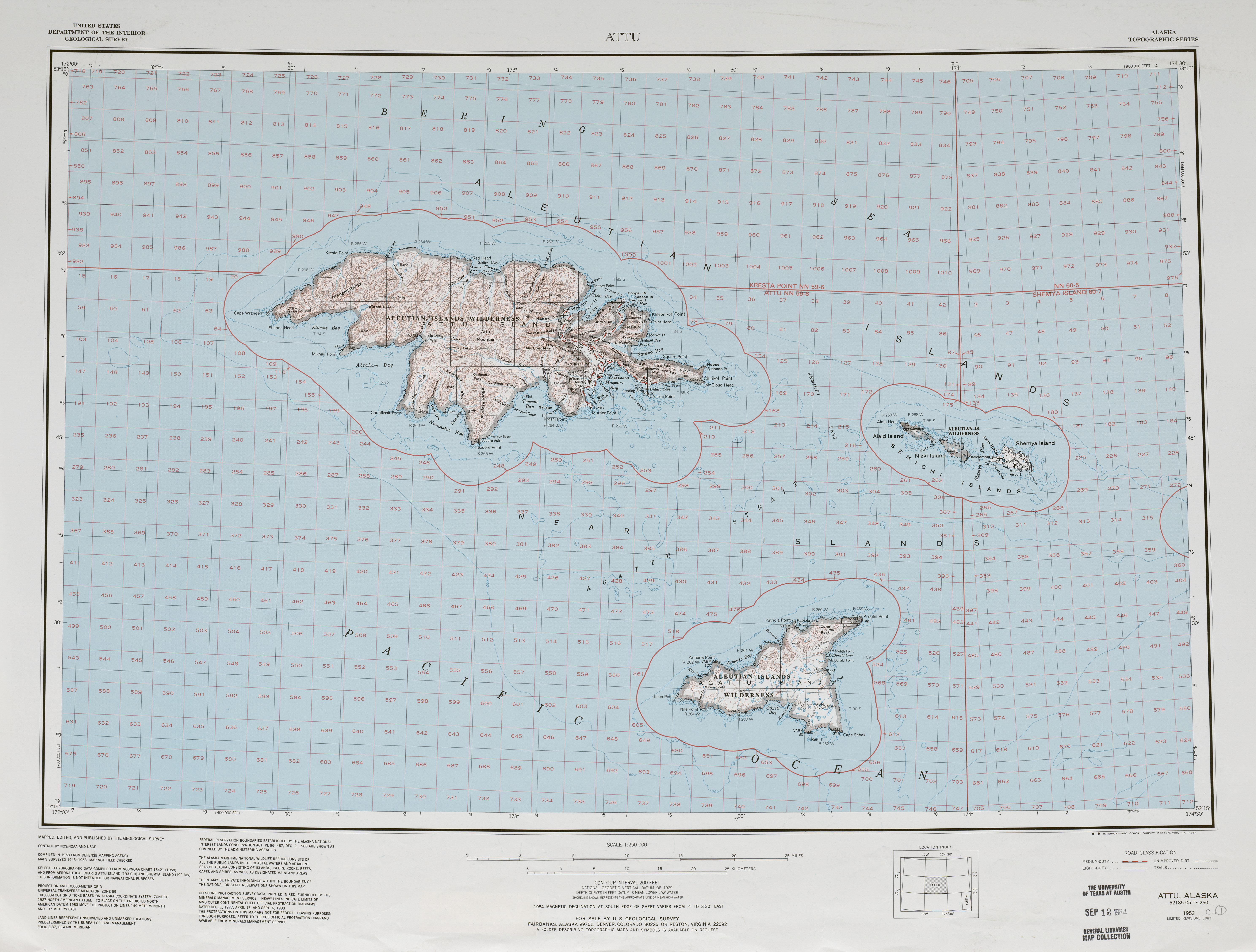 Hoja Attu del Mapa Topográfico de los Estados Unidos 1982