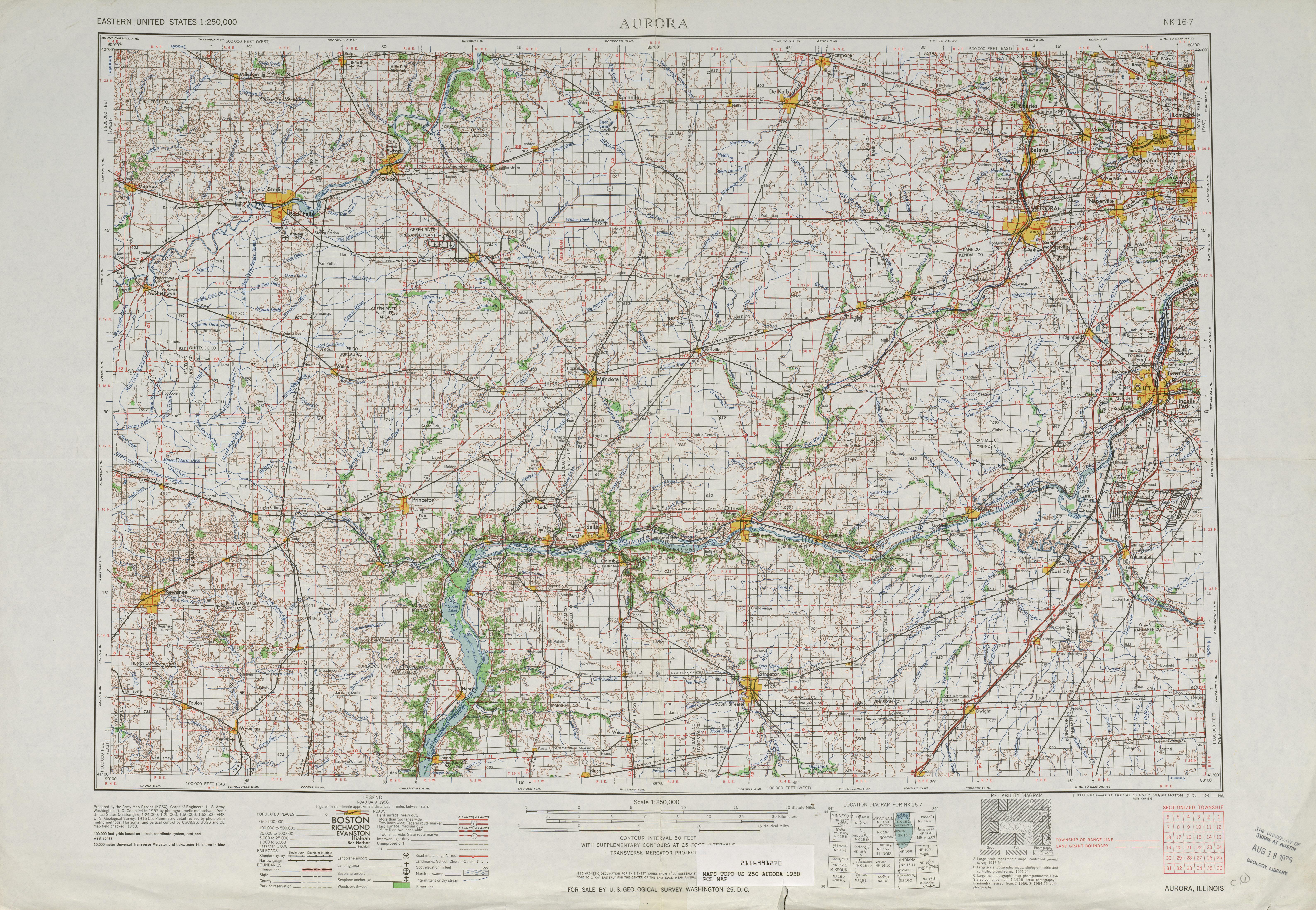 Hoja Aurora del Mapa Topográfico de los Estados Unidos 1958