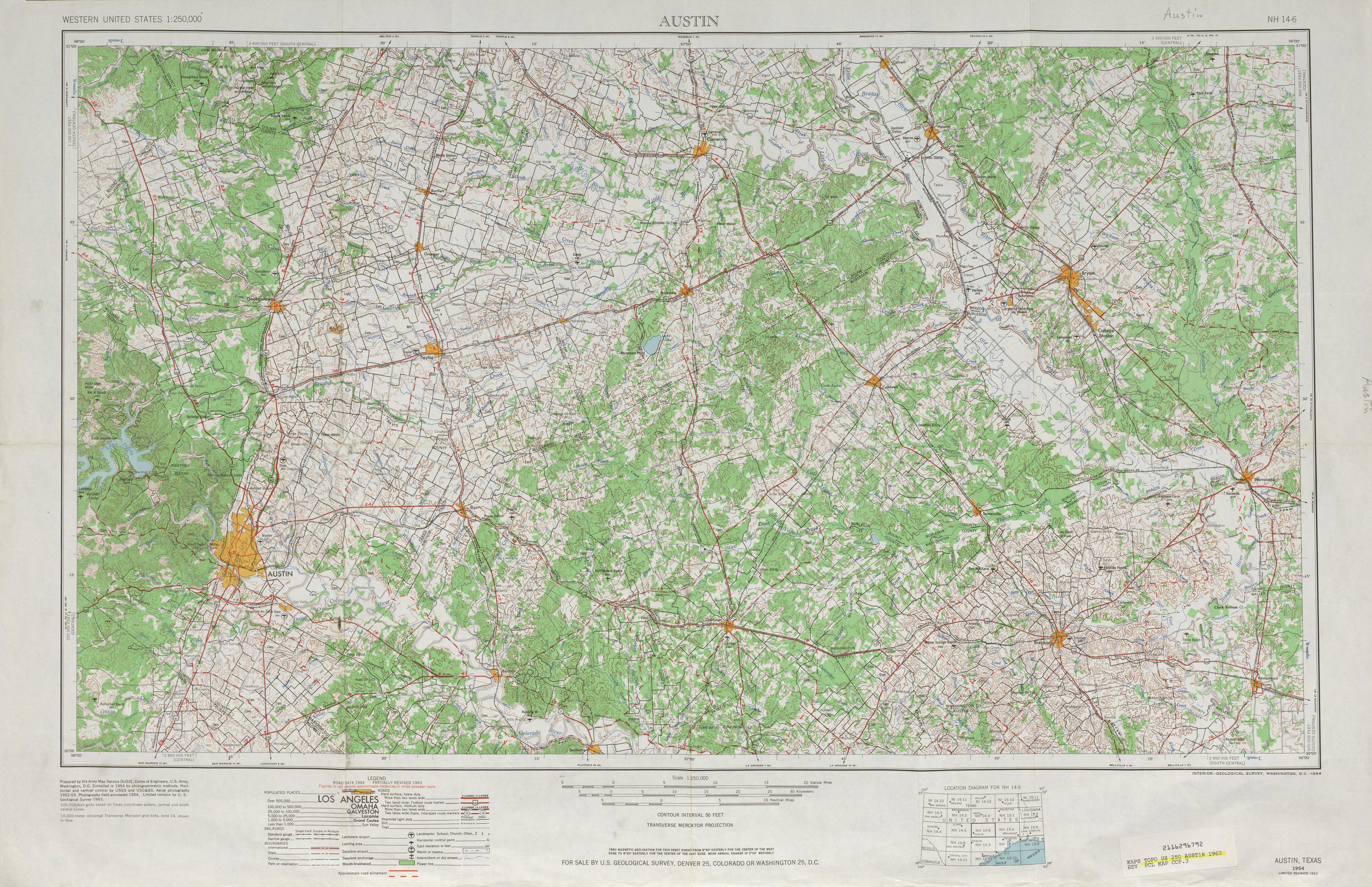 Hoja Austin del Mapa Topográfico de los Estados Unidos 1963