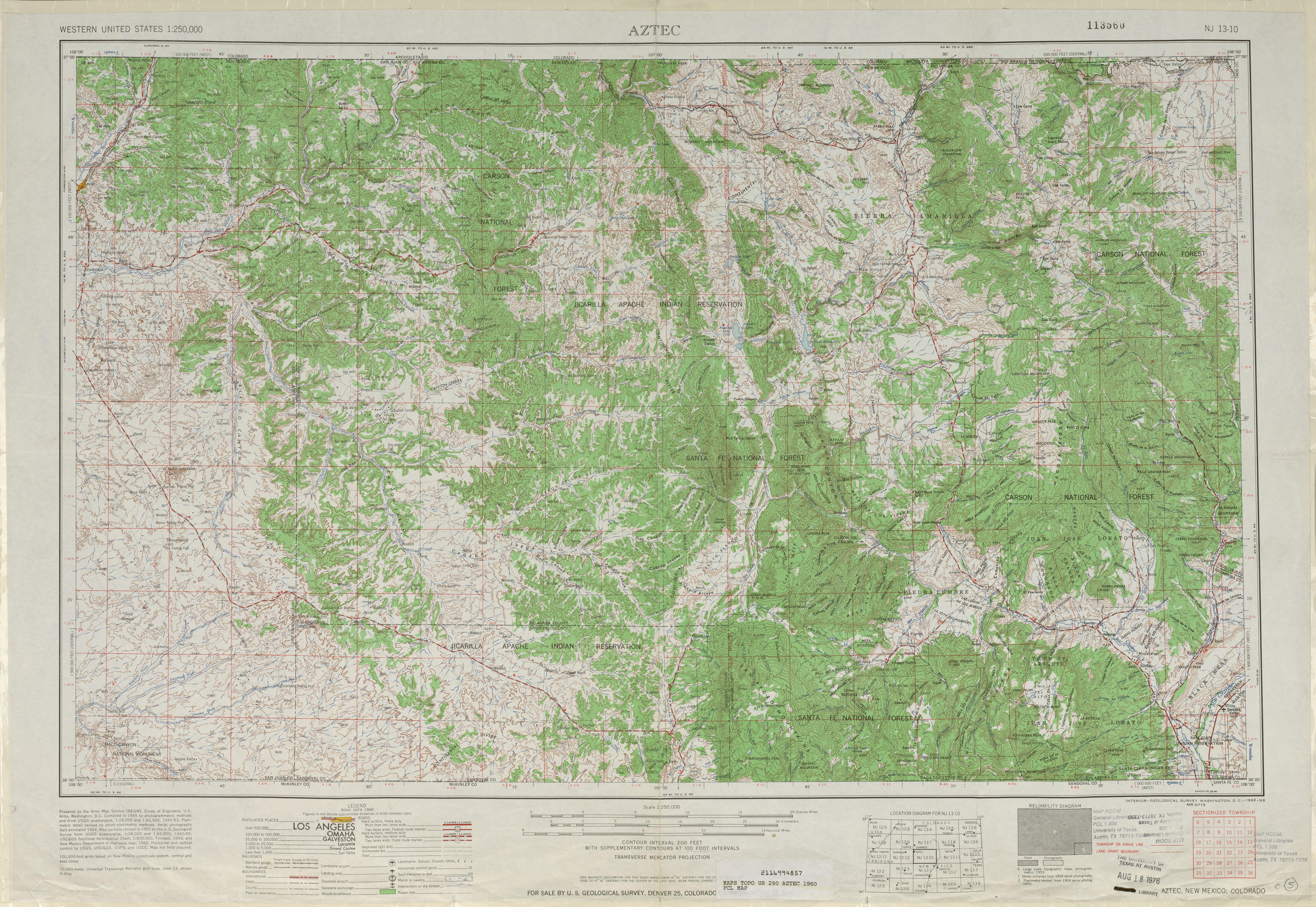Hoja Aztec del Mapa Topográfico de los Estados Unidos 1960