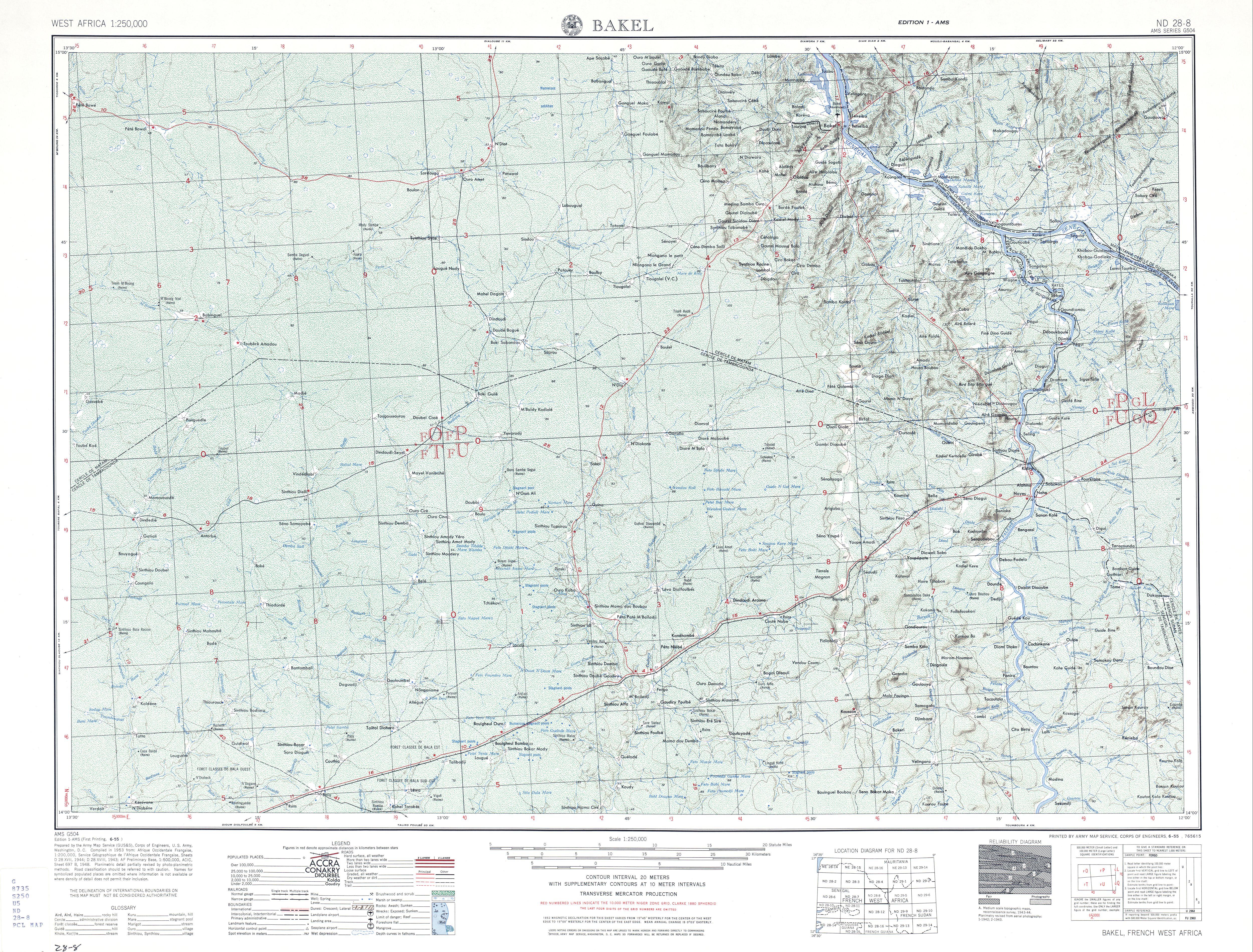 Hoja Bakel del Mapa Topográfico de África Occidental 1955