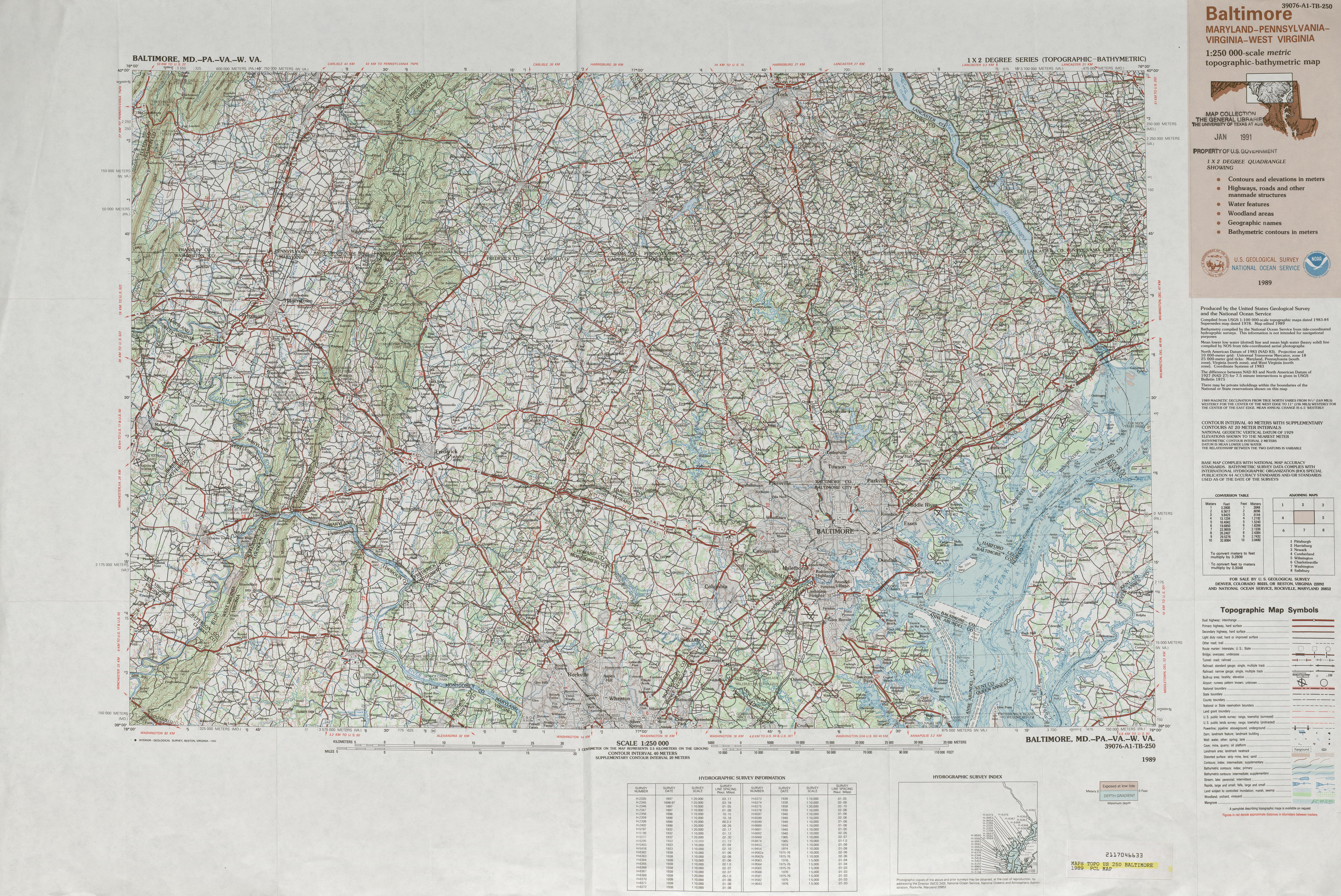 Hoja Baltimore Mapa Topográfico de-Batimétrico, Estados Unidos 1989