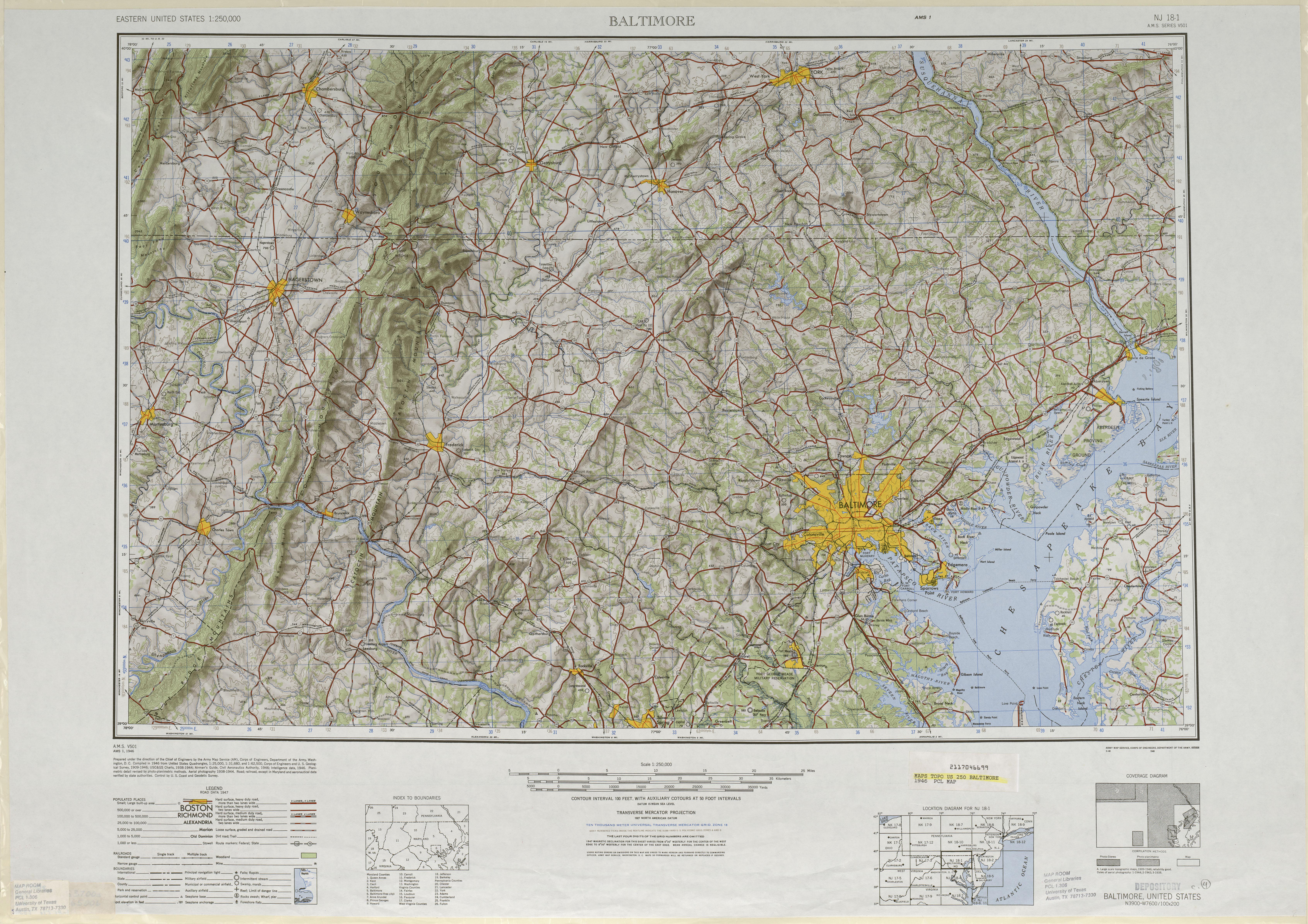 Hoja Baltimore del Mapa de Relieve Sombreado de los Estados Unidos 1946
