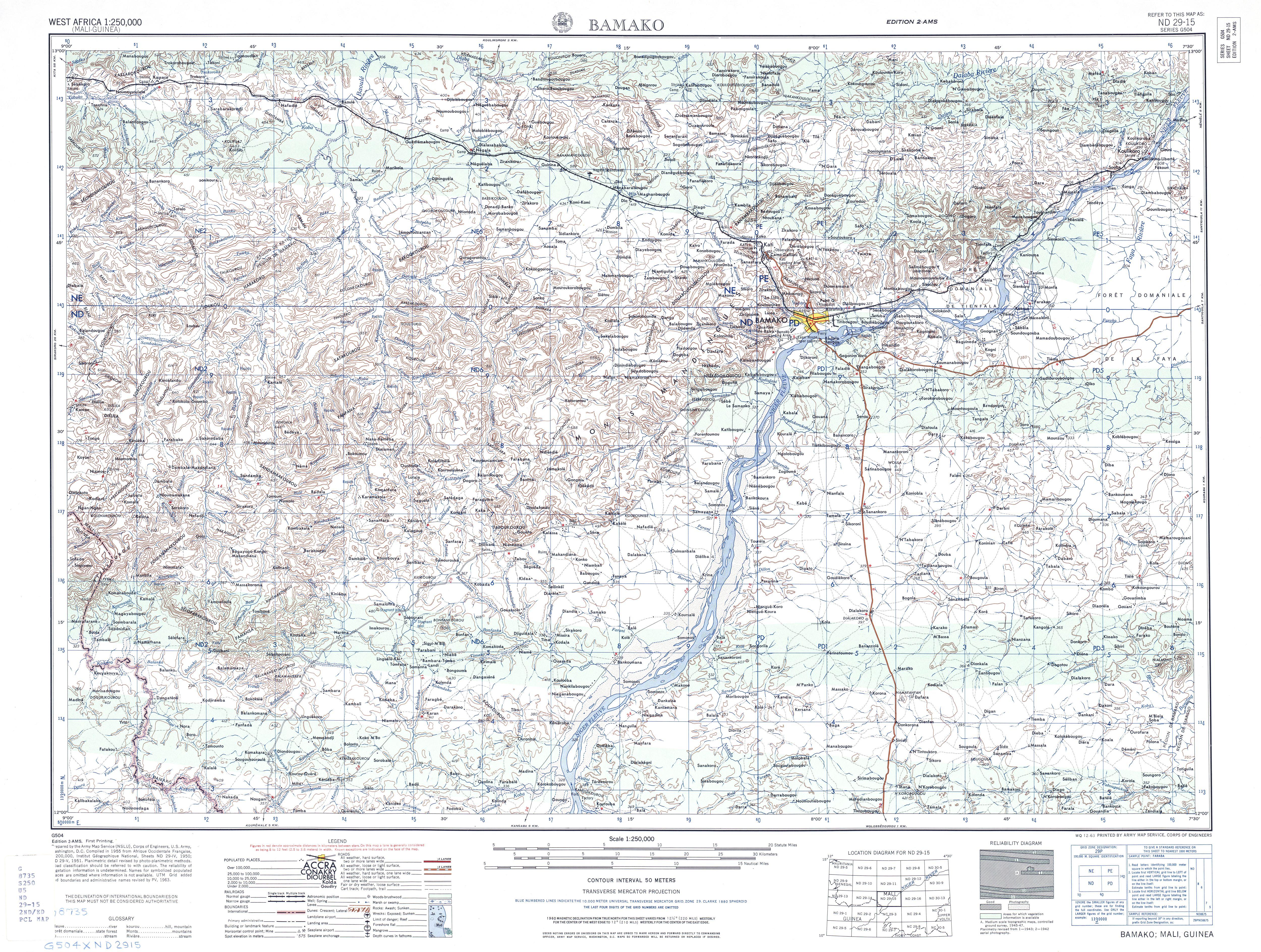 Hoja Bamako del Mapa Topográfico de África Occidental 1955
