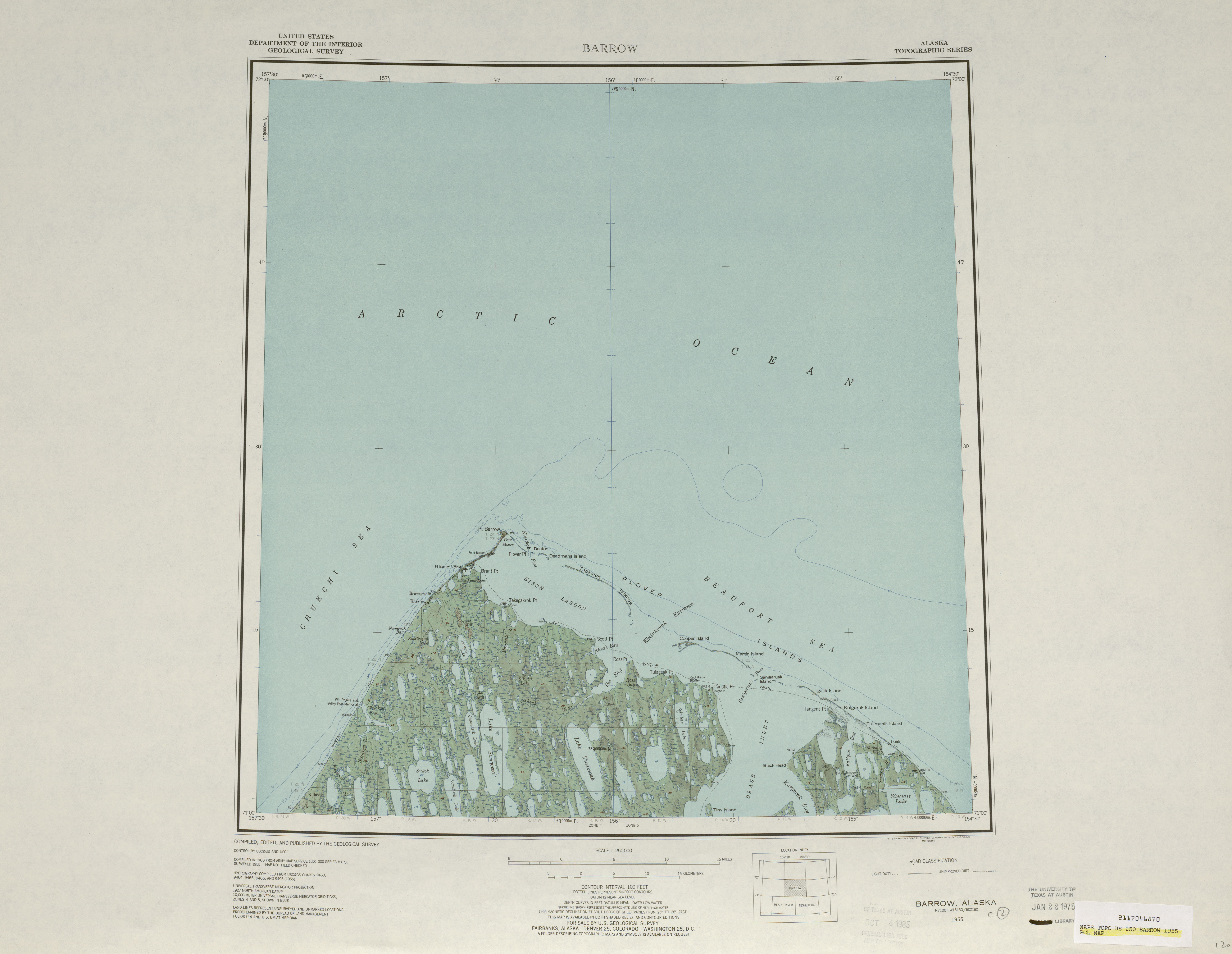 Barrow Shaded Relief Map Sheet, United States 1955