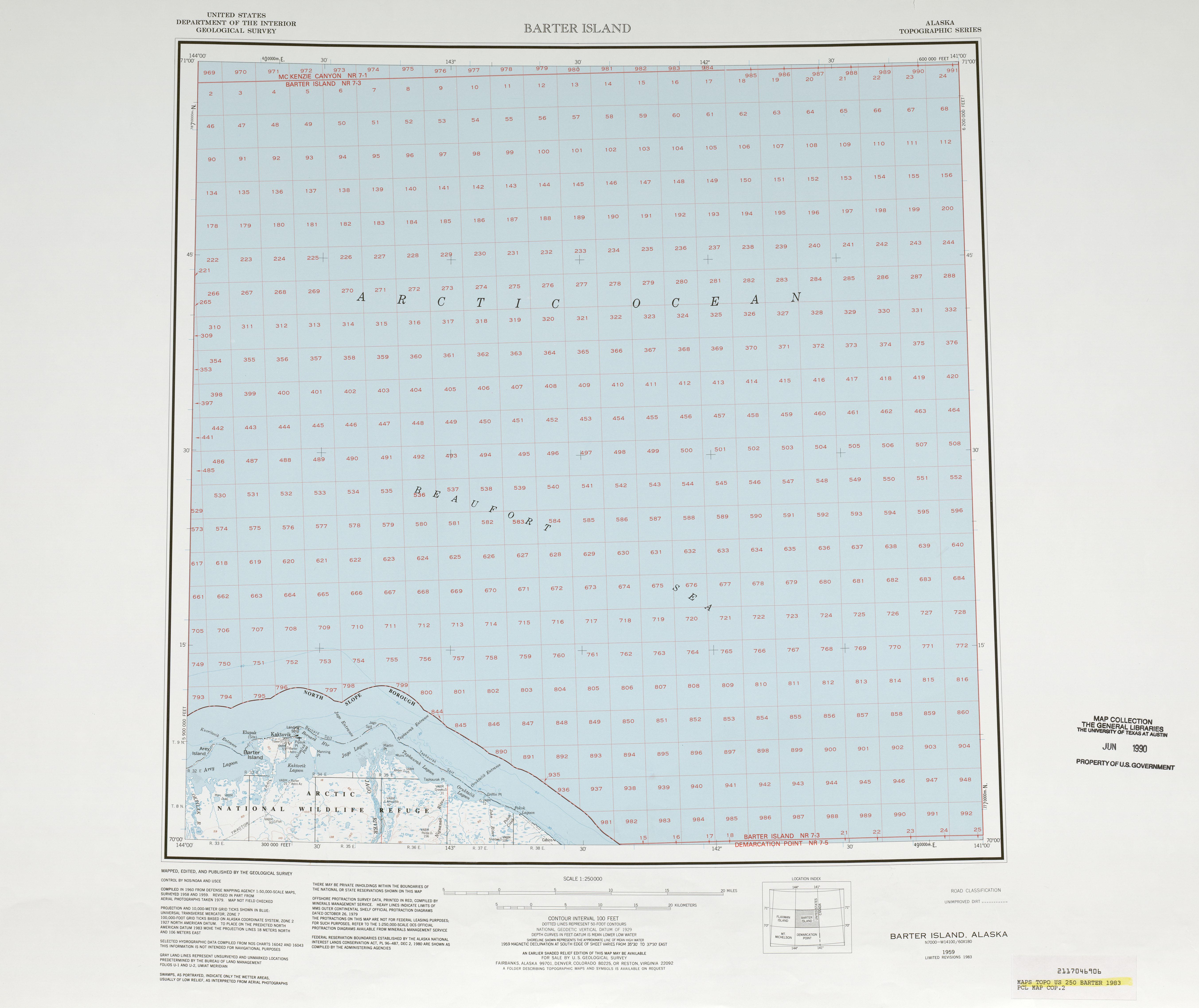 Hoja Barter Island de la Imagen Satelital de los Estados Unidos 1983