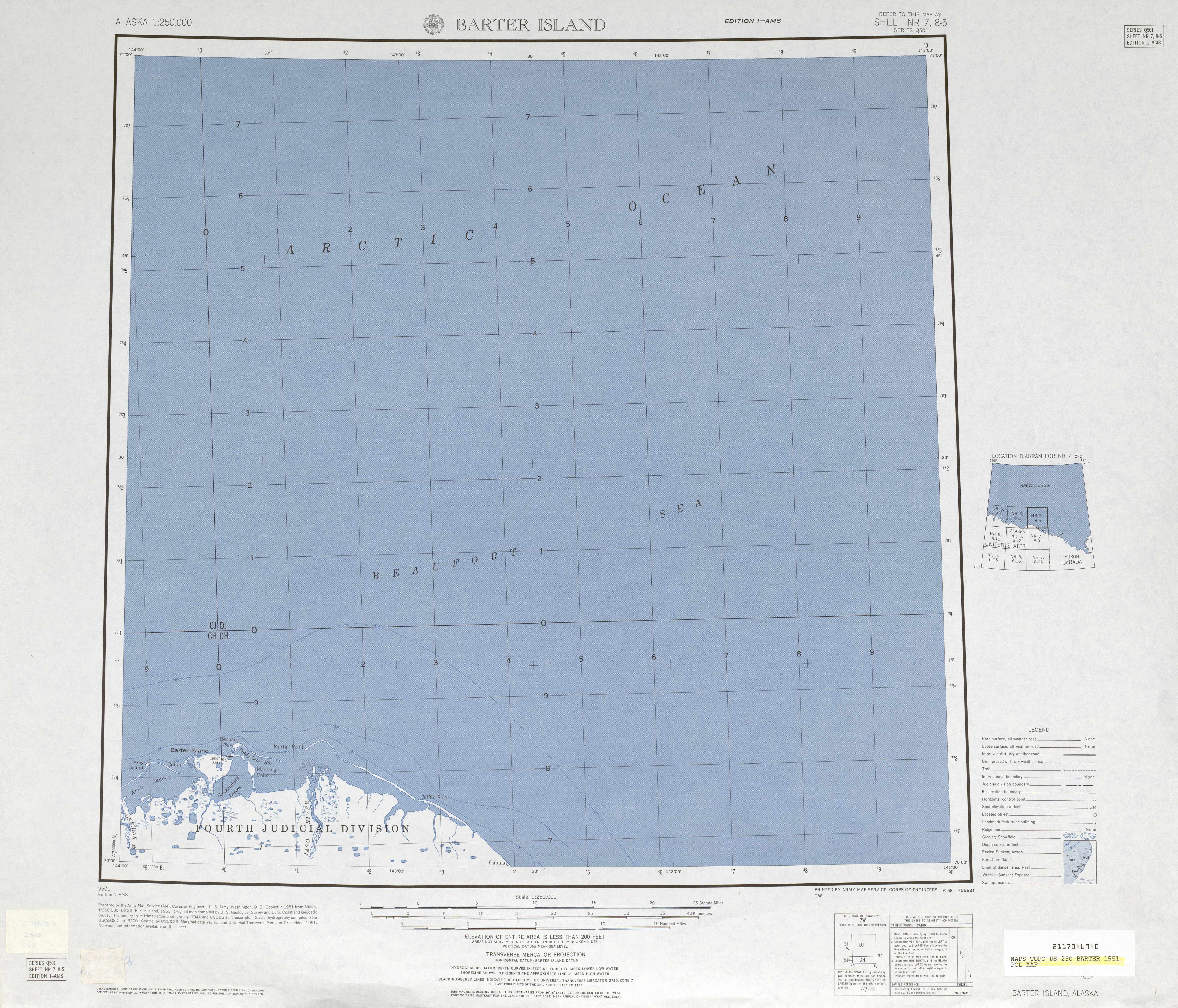 Barter Island Topographic Map Sheet, United States 1951