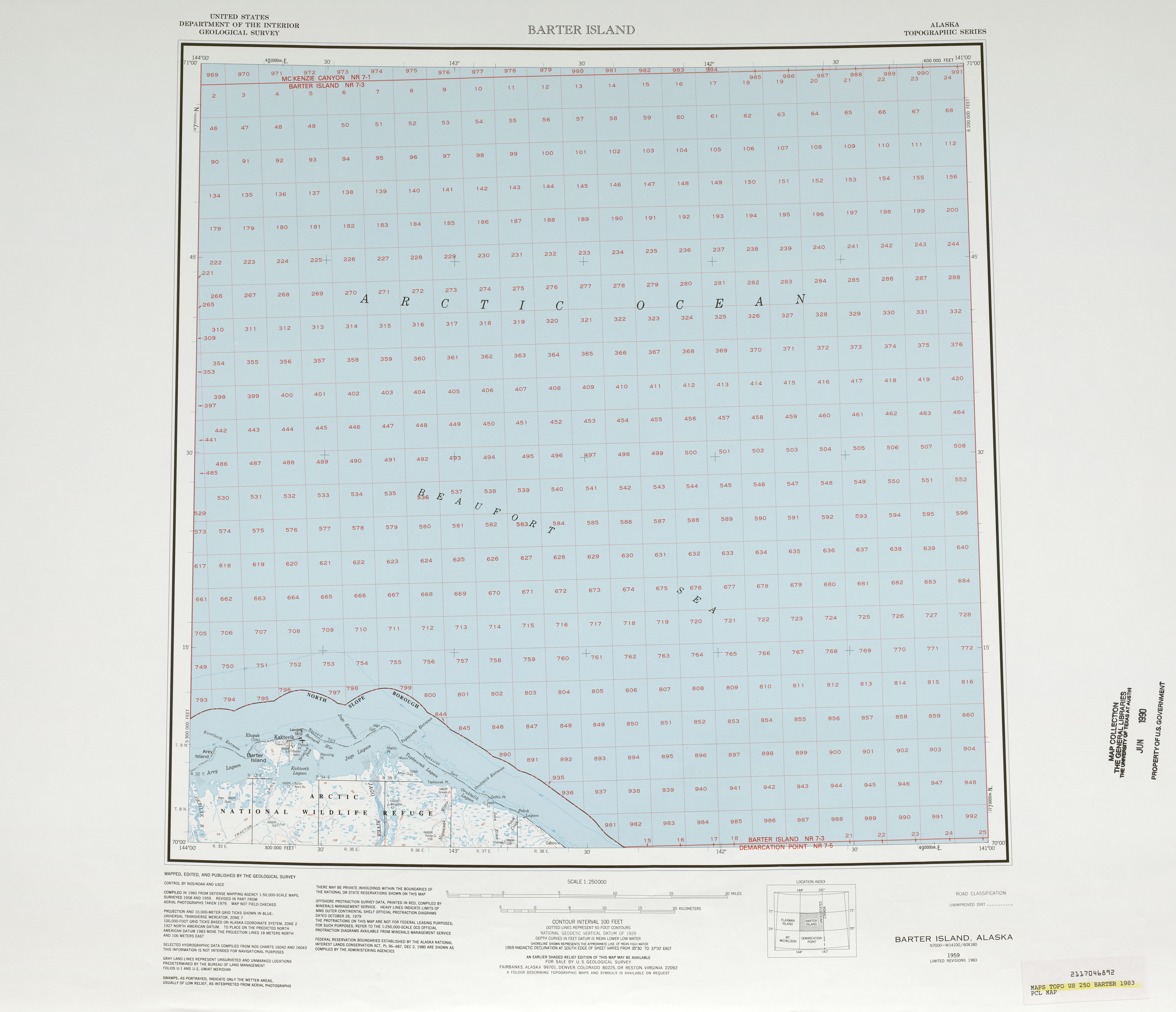 Barter Island Topographic Map Sheet, United States 1983