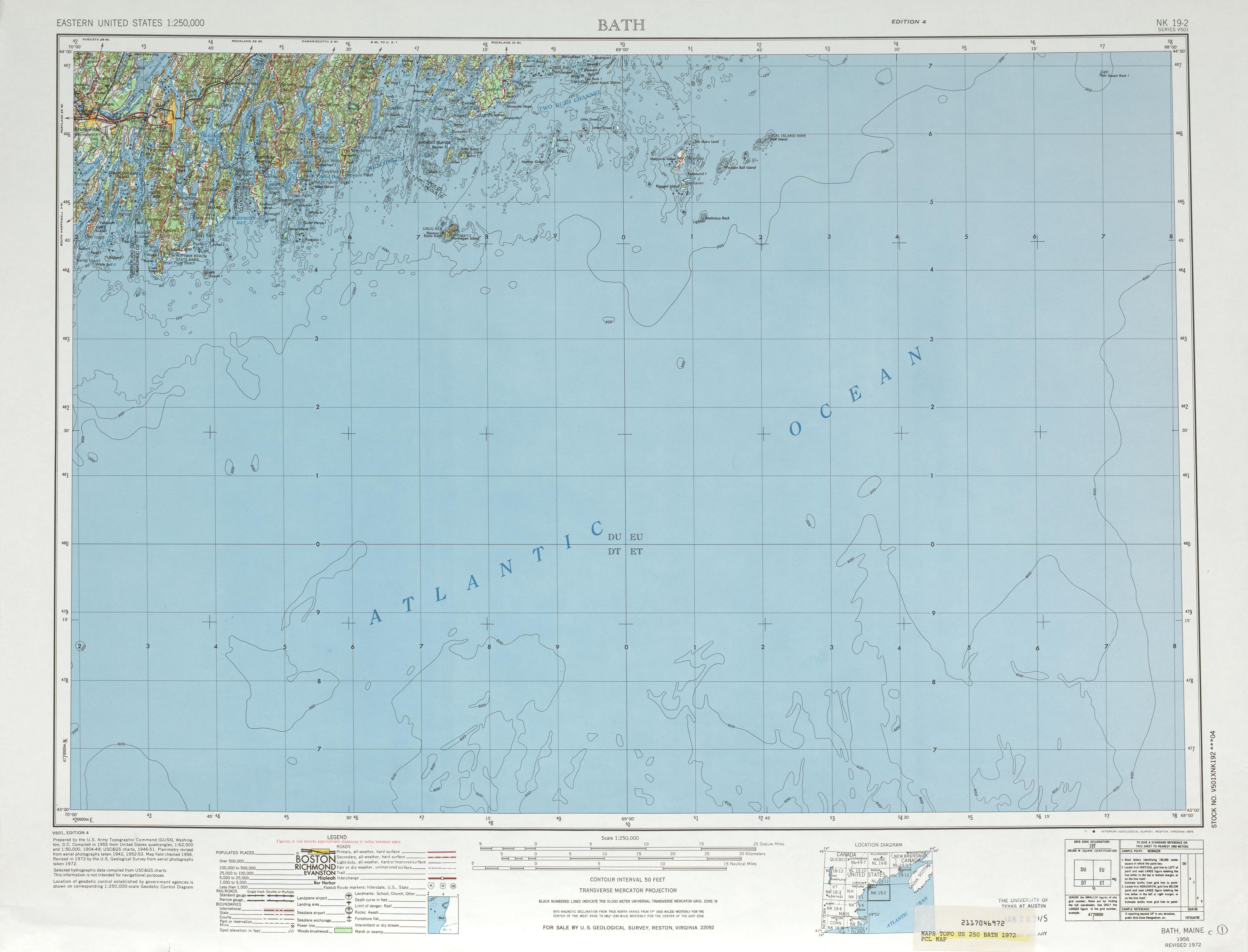 Hoja Bath del Mapa Topográfico de los Estados Unidos 1972