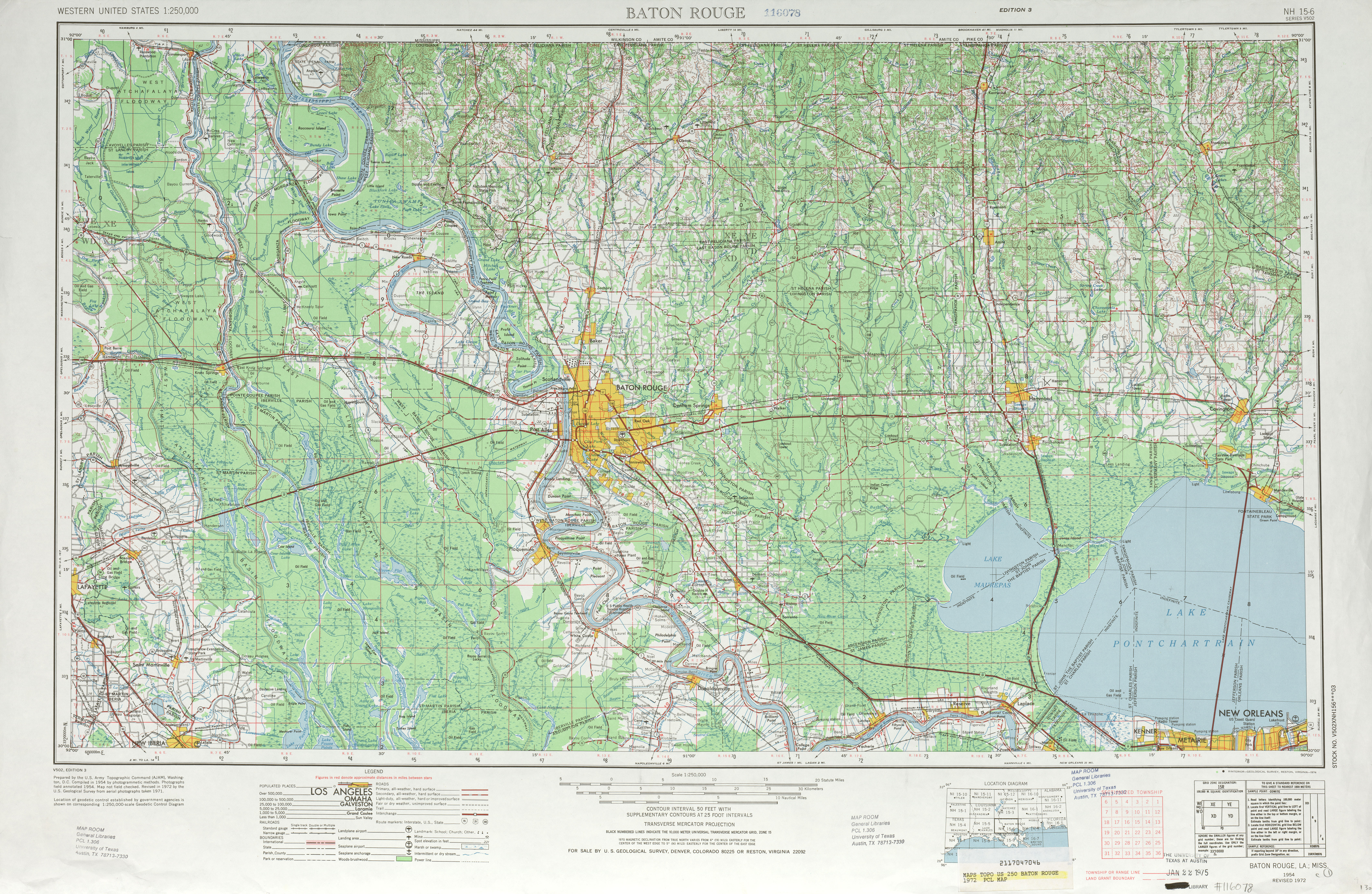 Baton Rouge Topographic Map Sheet, United States 1972