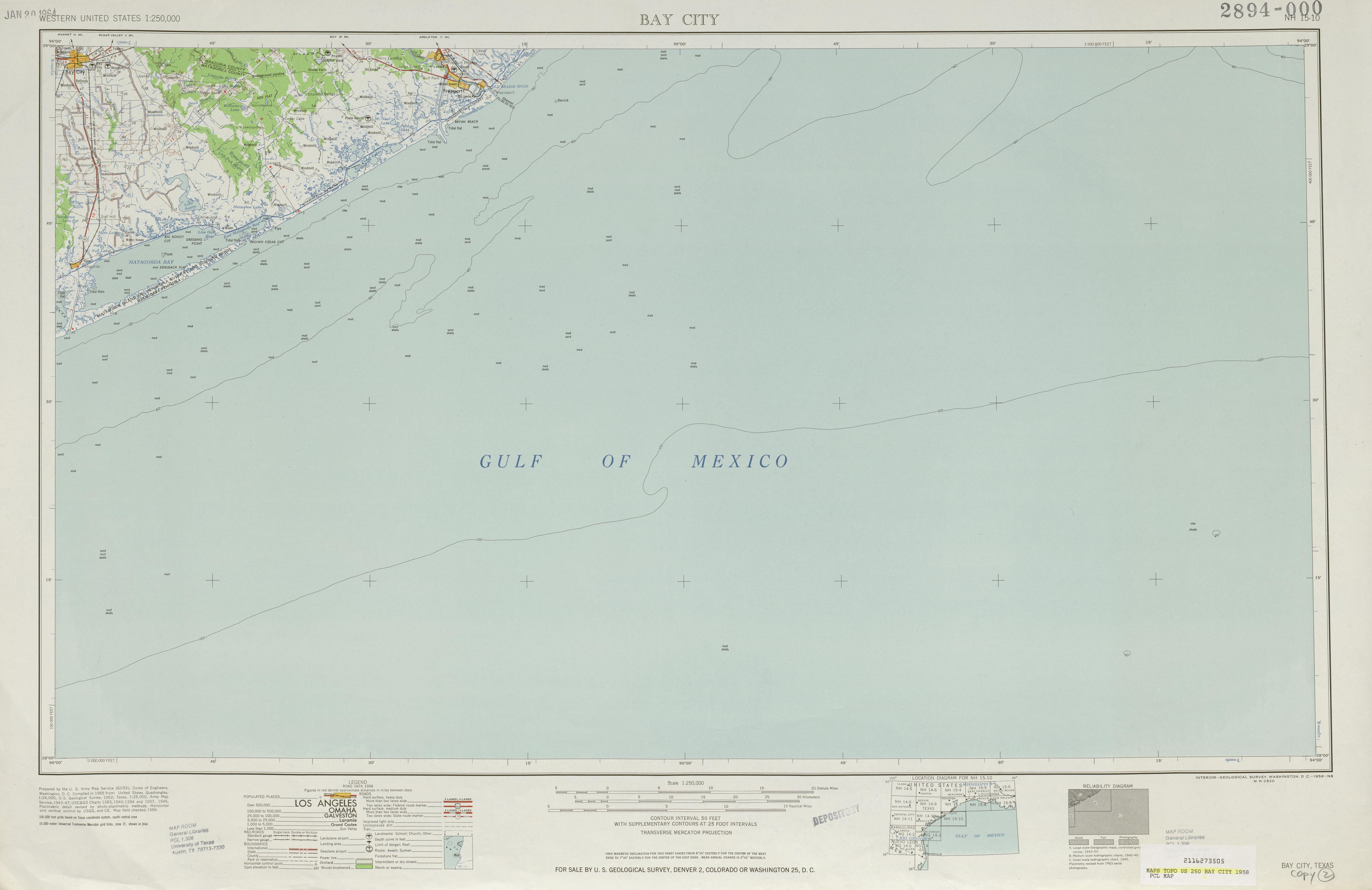 Hoja Bay City del Mapa Topográfico de los Estados Unidos 1958