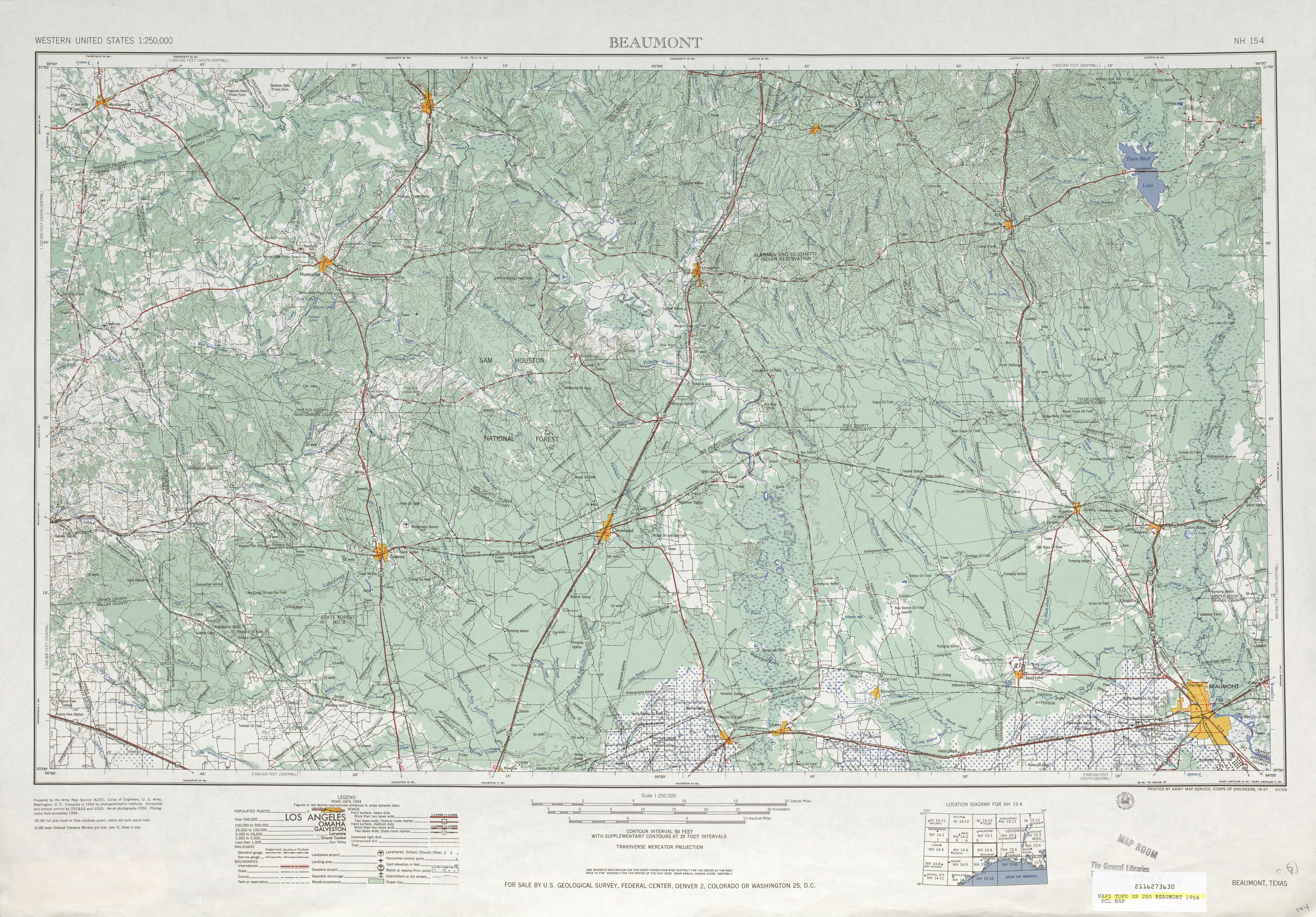 Hoja Beaumont del Mapa Topográfico de los Estados Unidos 1954