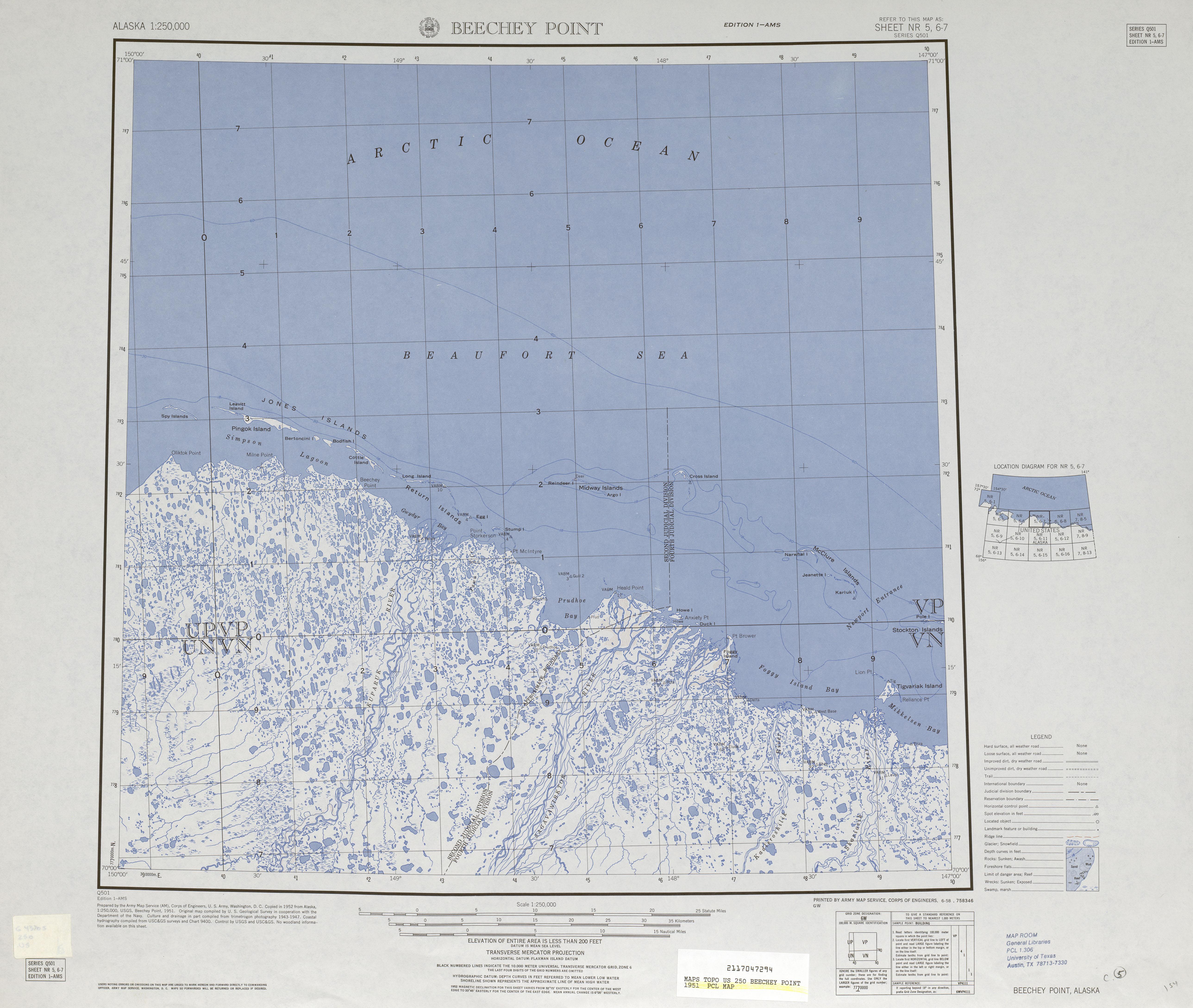 Hoja Beechey Point del Mapa Topográfico de los Estados Unidos 1951