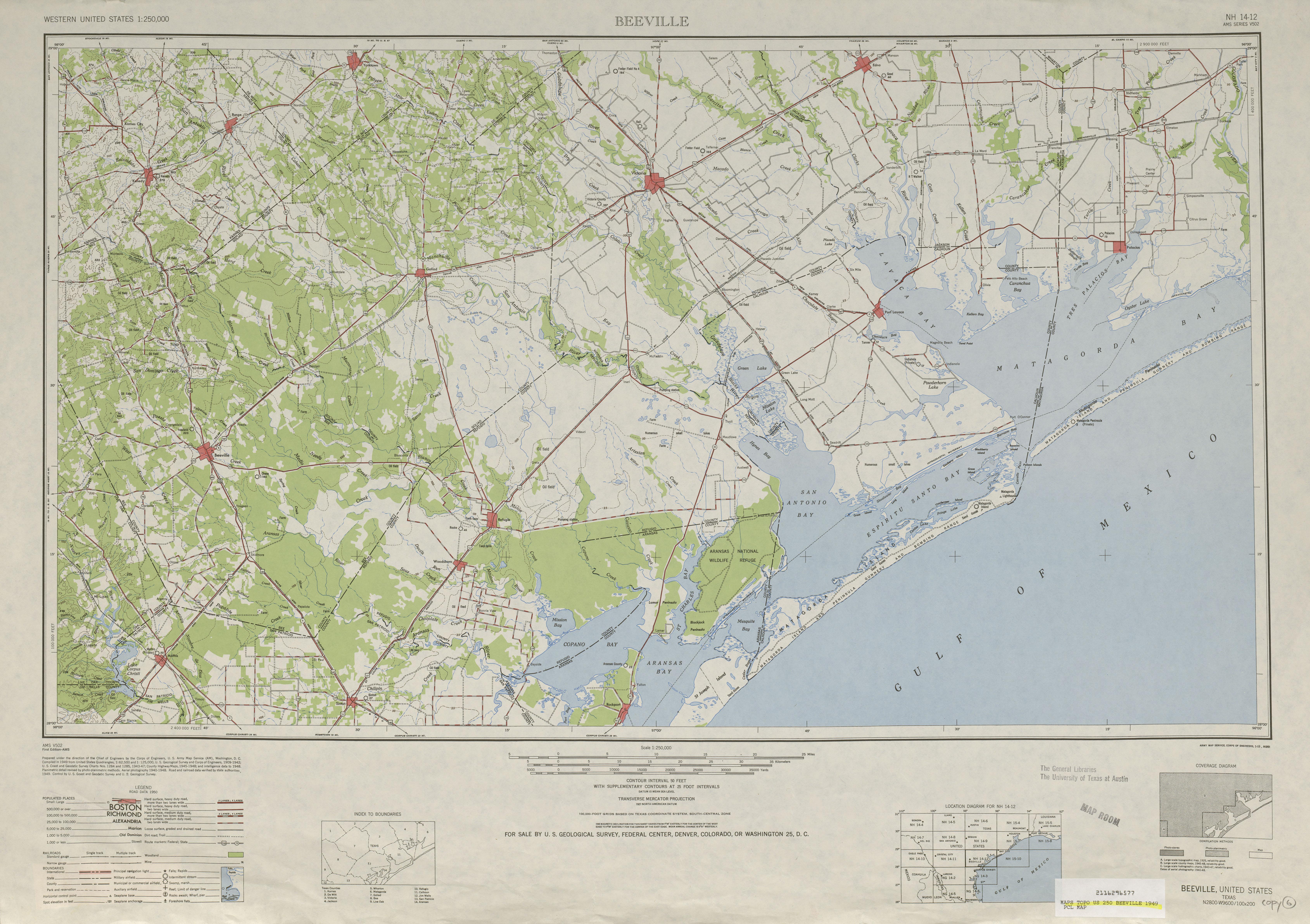 Hoja Beeville del Mapa Topográfico de los Estados Unidos 1949