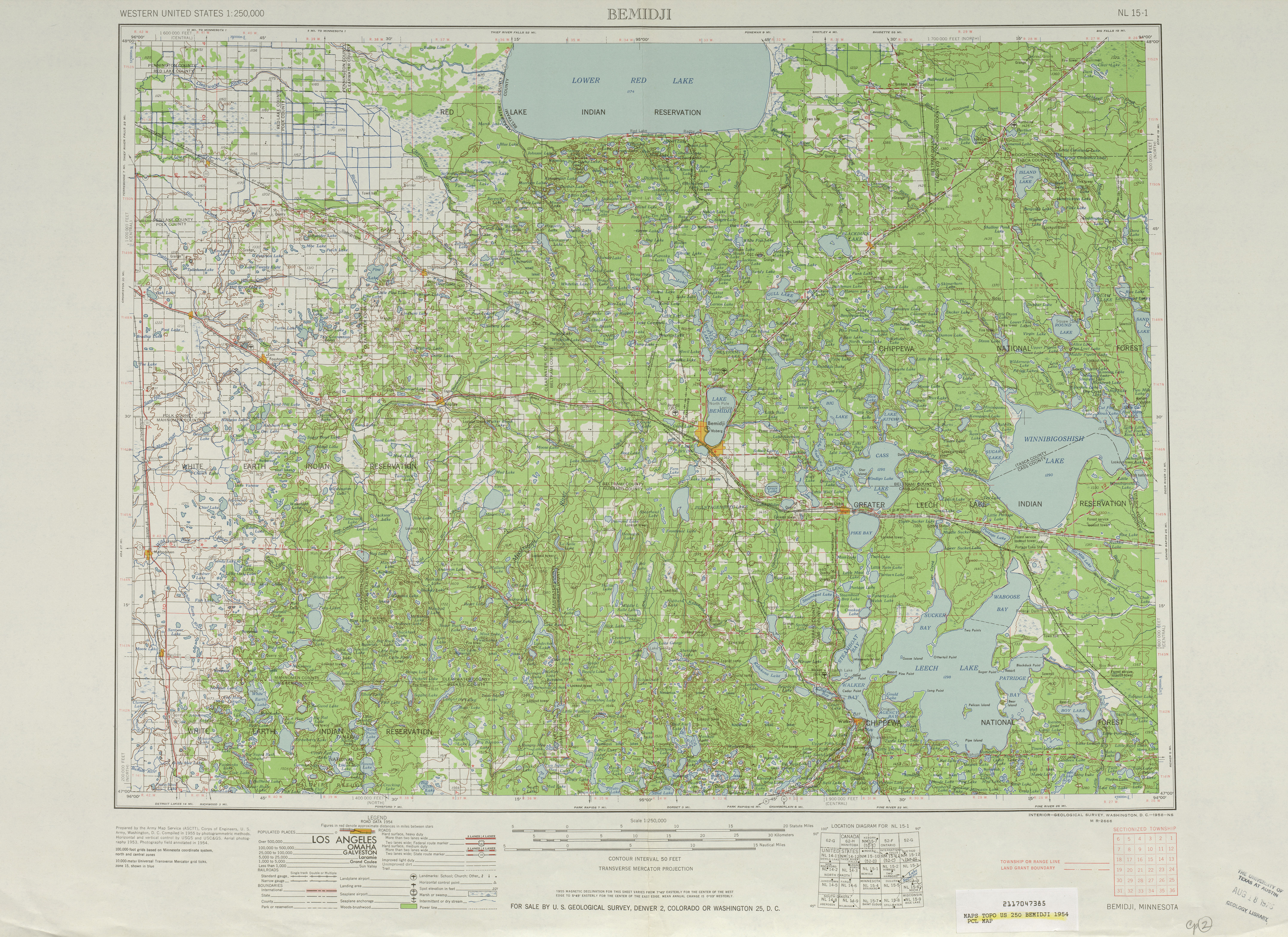 Bemidji Topographic Map Sheet, United States 1954