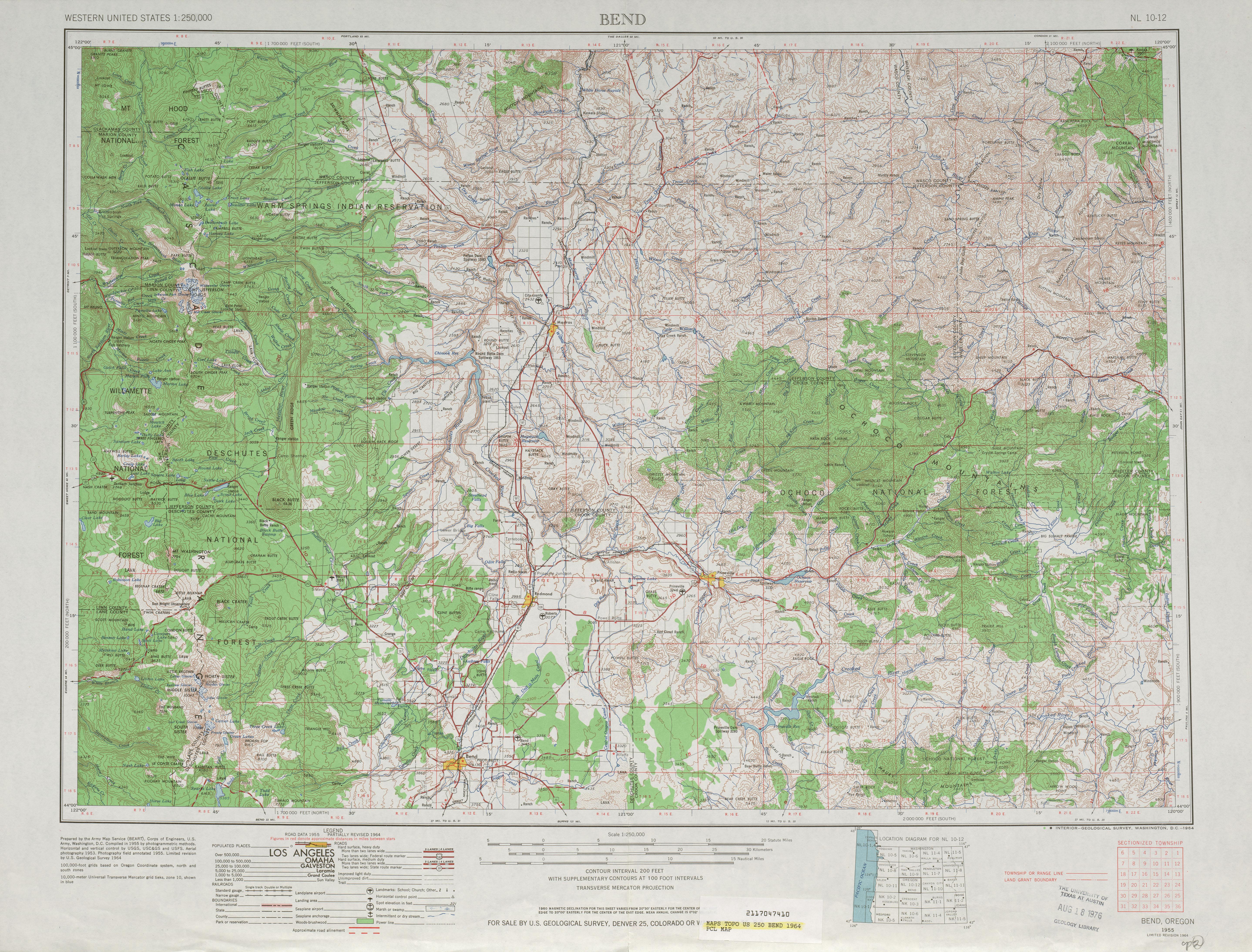 Hoja Bend del Mapa Topográfico de los Estados Unidos 1964