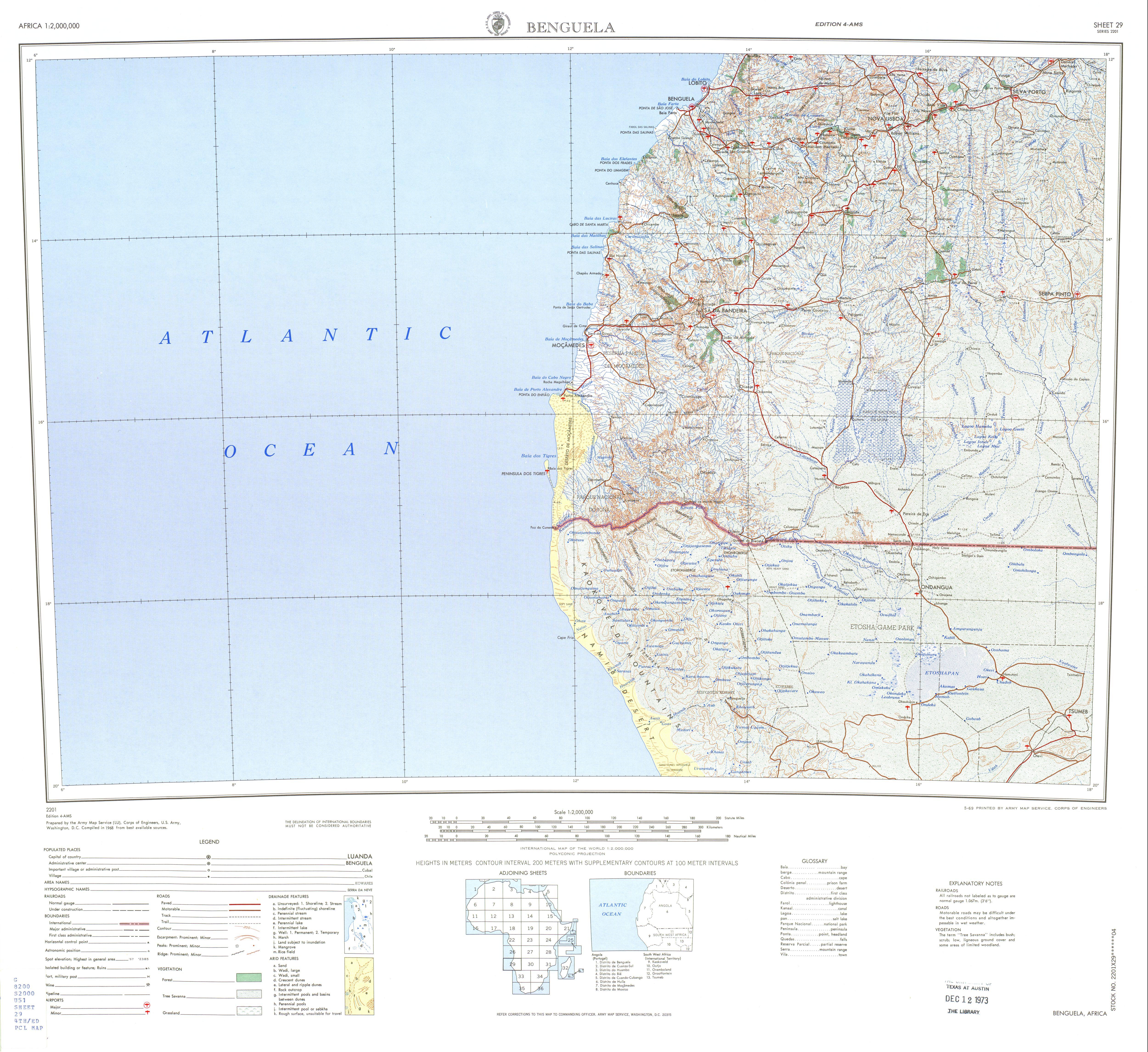 Hoja Benguela del Mapa Topográfico de África 1968