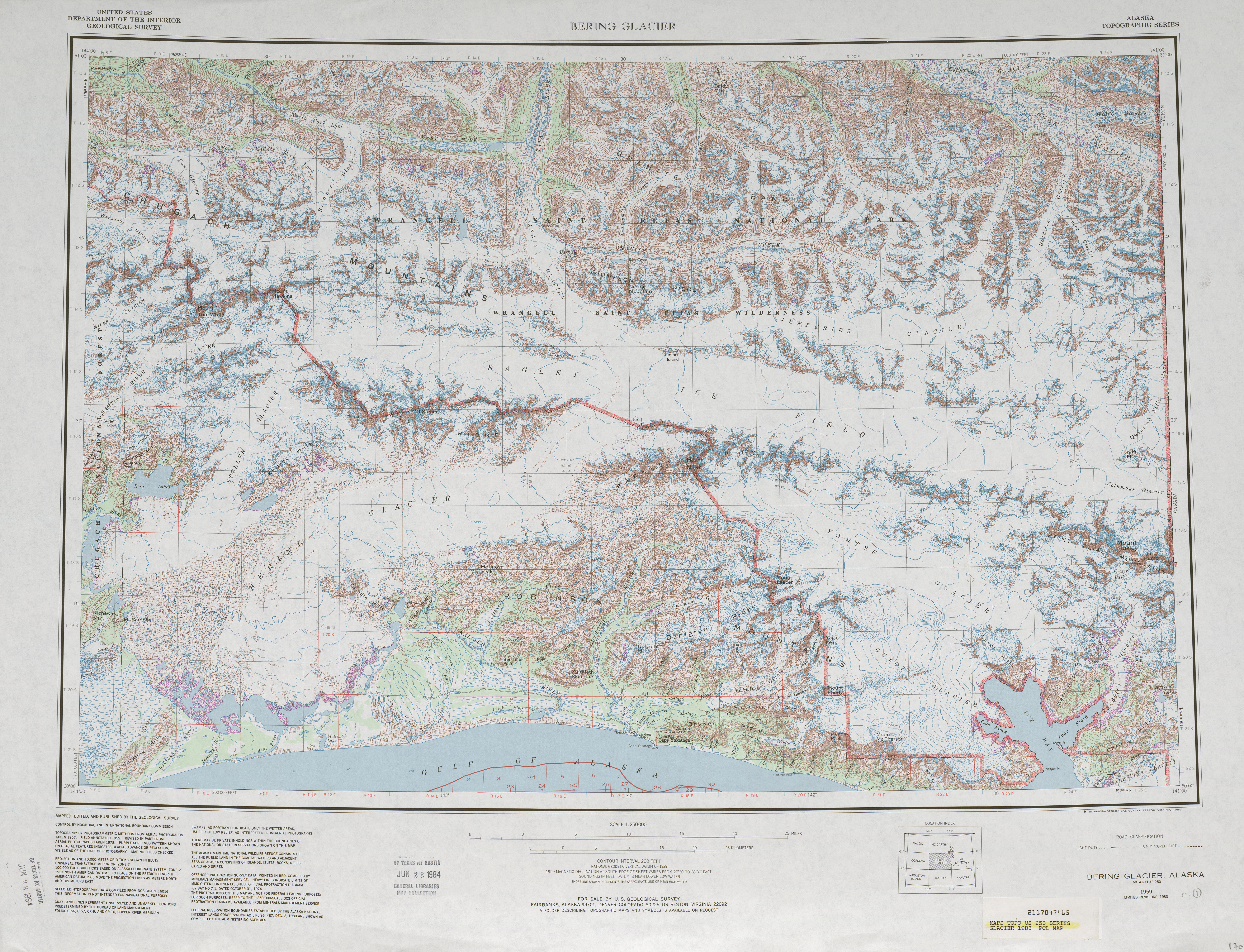Bering Glacier Topographic Map Sheet, United States 1983