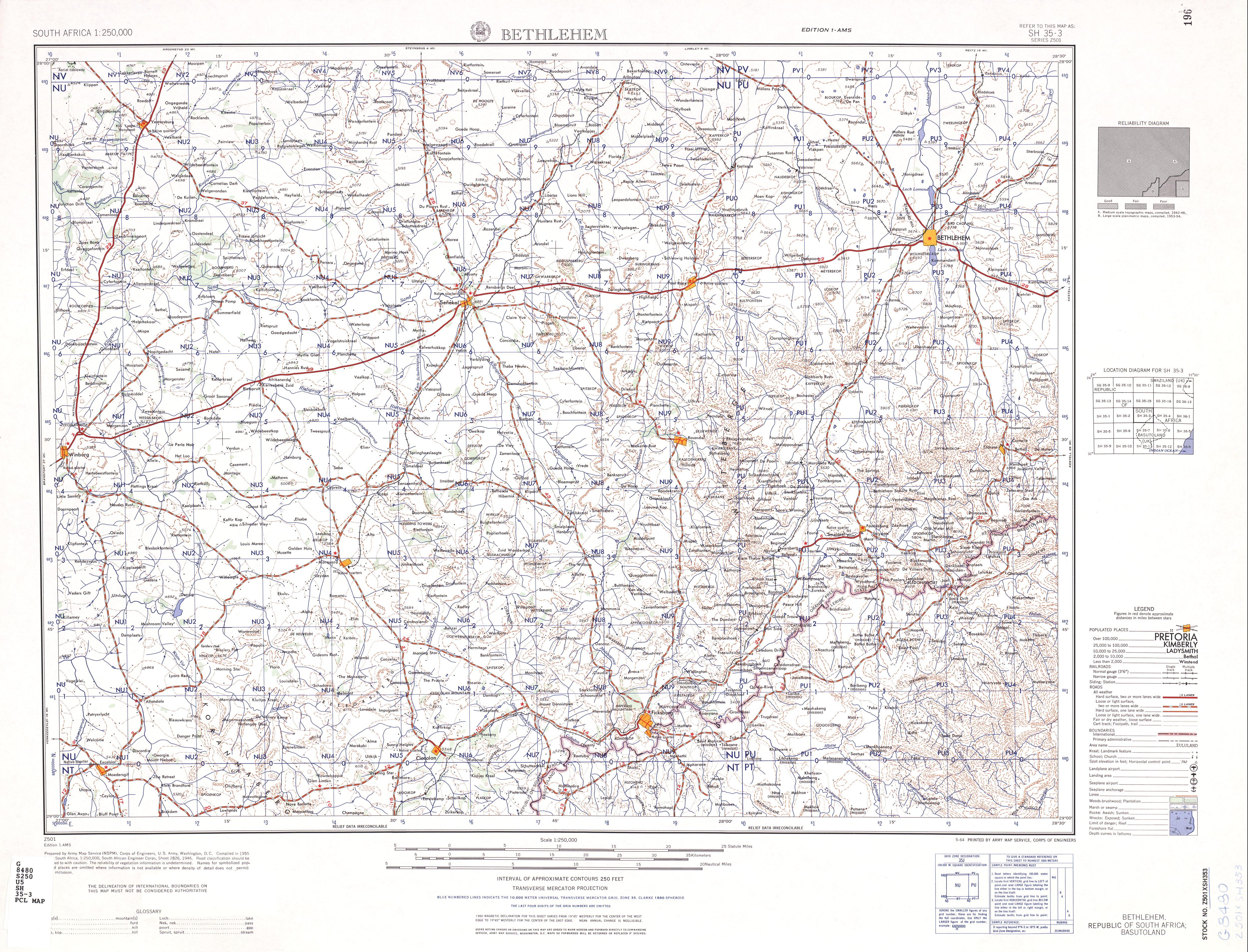 Hoja Bethlehem del Mapa Topográfico de África Meridional 1954